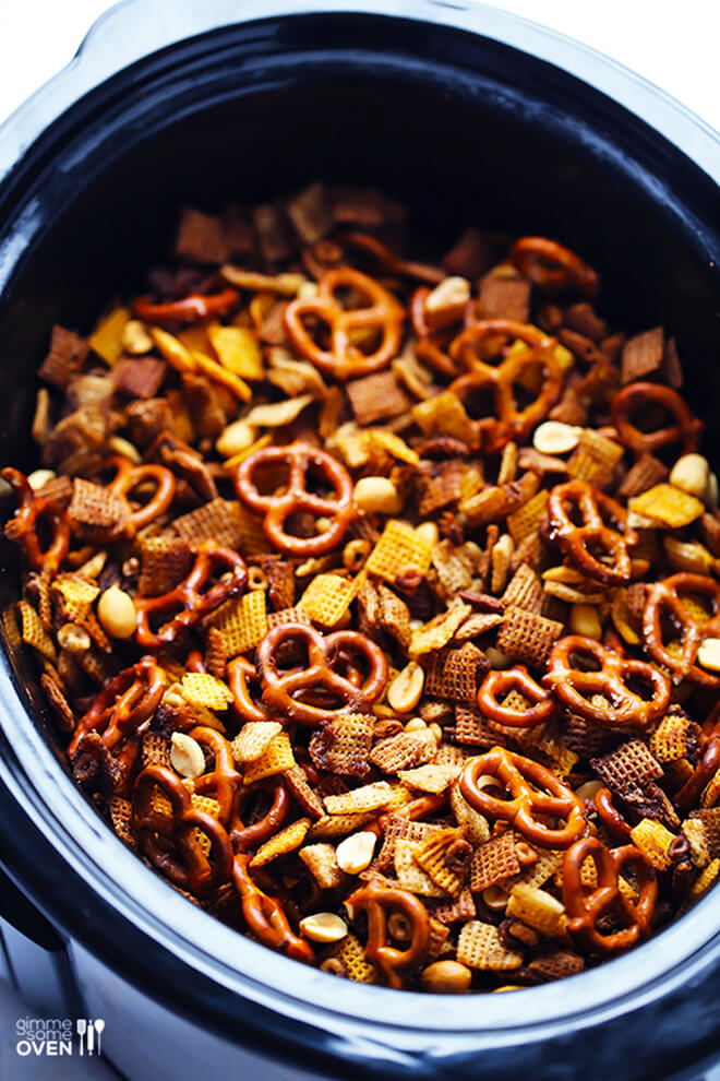 Slow Cooker Chex Mix -- one of 12 ways to rock your crock-pot this Thanksgiving! | gimmesomeoven.com