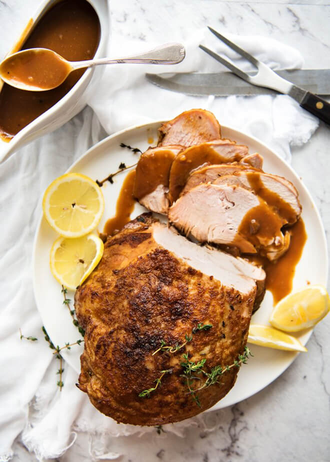 Juicy Slow Cooker Turkey Breast -- one of 12 ways to rock your crock-pot this Thanksgiving! | gimmesomeoven.com