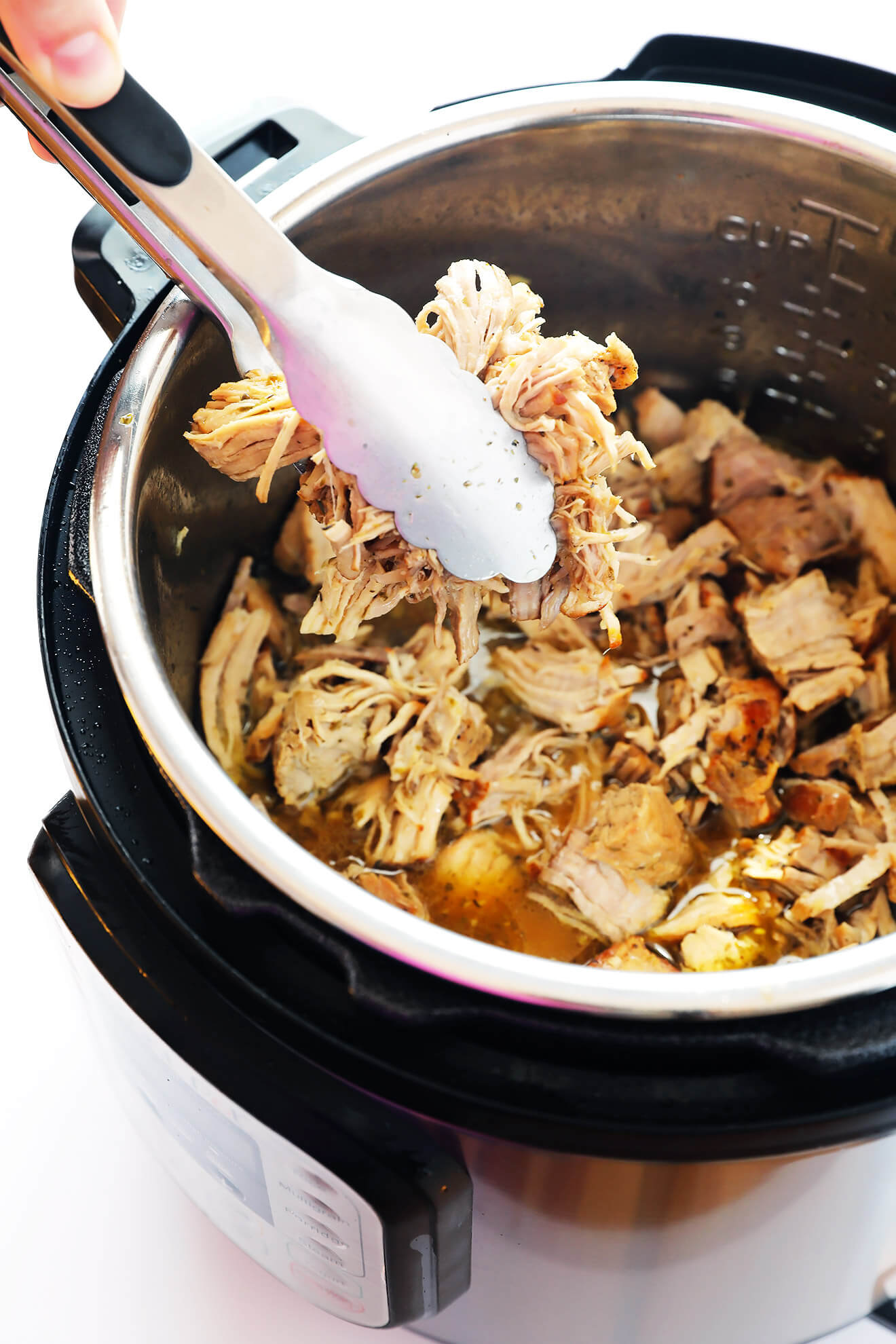 Crispy Pork Carnitas are so easy to make in the Instant Pot! Check out this delicious recipe, marinade with a citrus garlic Cuban mojo sauce. | gimmesomeoven.com