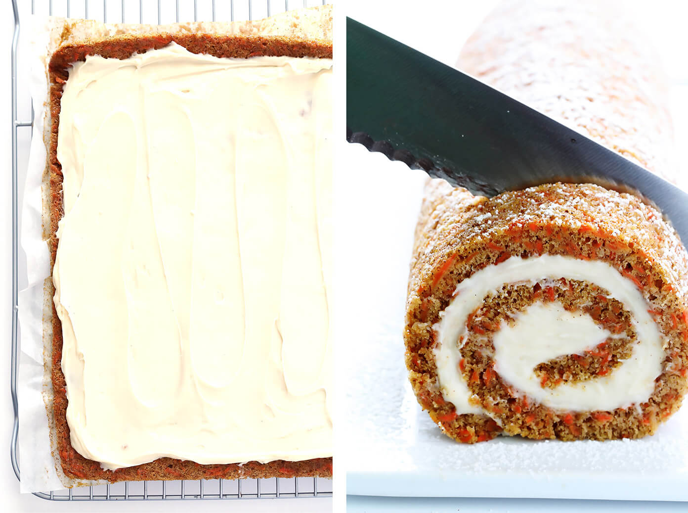 Have you ever tried rolling up your carrot cake?  It's fun and totally delicious with this Carrot Cake Roll recipe! | gimmesomeoven.com