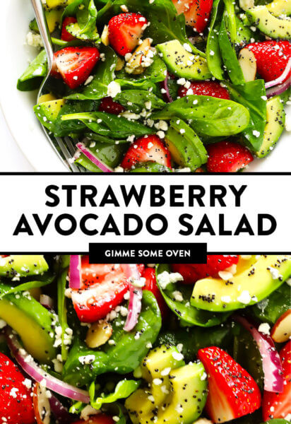 Strawberry Avocado Spinach Salad Recipe with Poppyseed Dressing