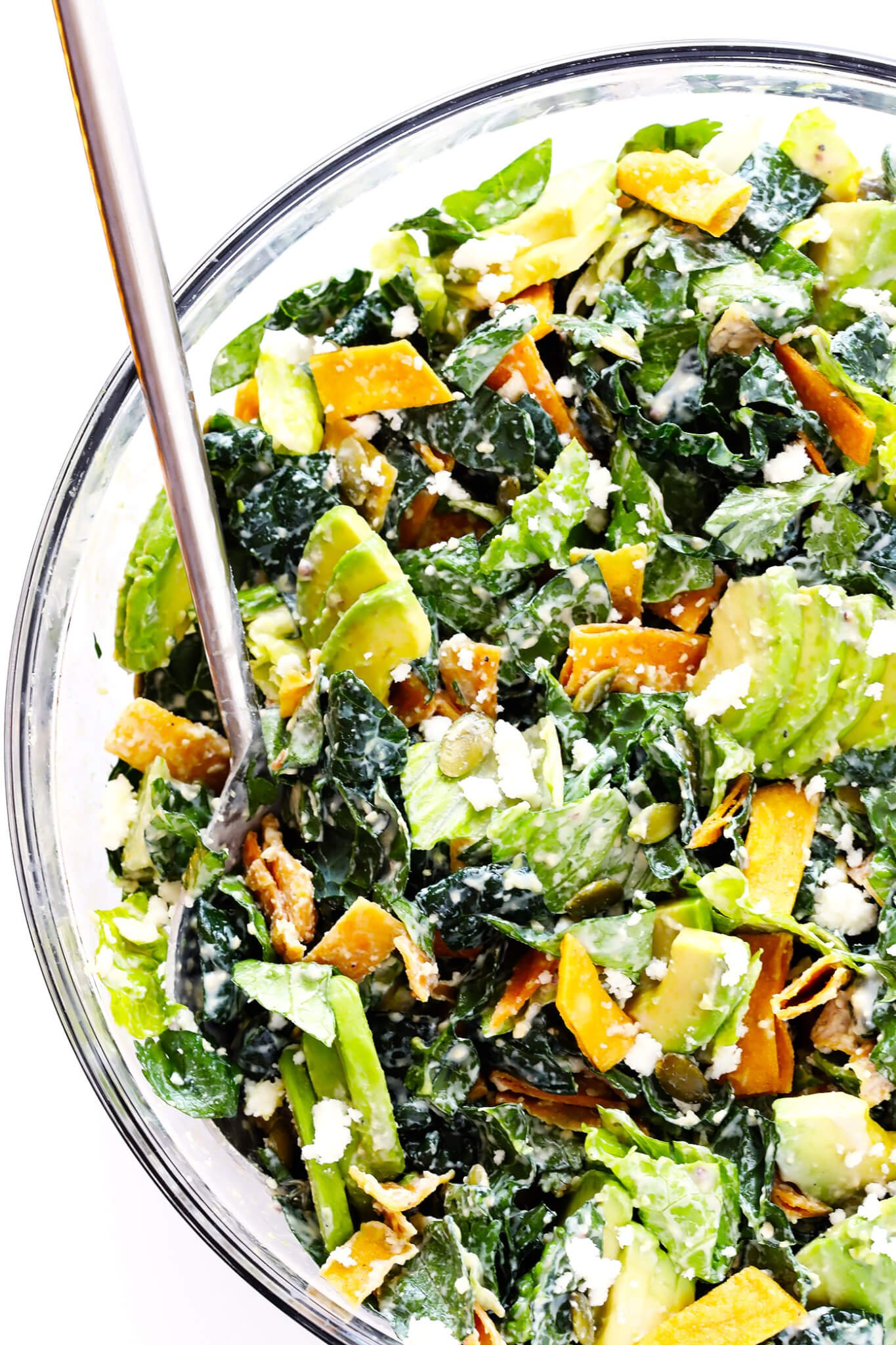 This Mexican Caesar Salad recipe is SO DELICIOUS, and made with kale, Romaine, avocado, crispy tortilla strips, pepitas, crumbled cotija cheese, and a creamy Greek Yogurt Caesar Dressing. | gimmesomeoven.com