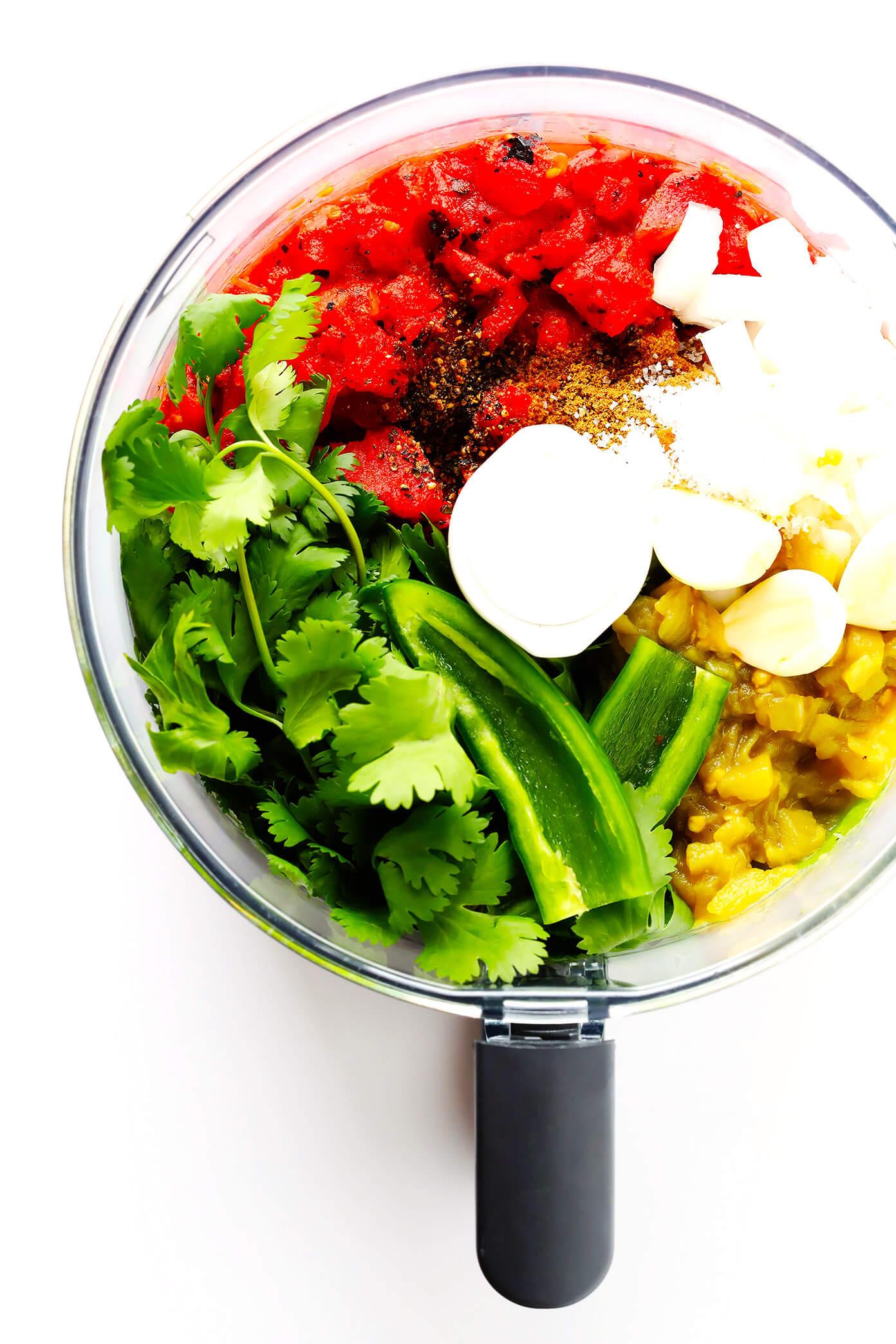 Restaurant-Style Salsa Ingredient in Food Processor