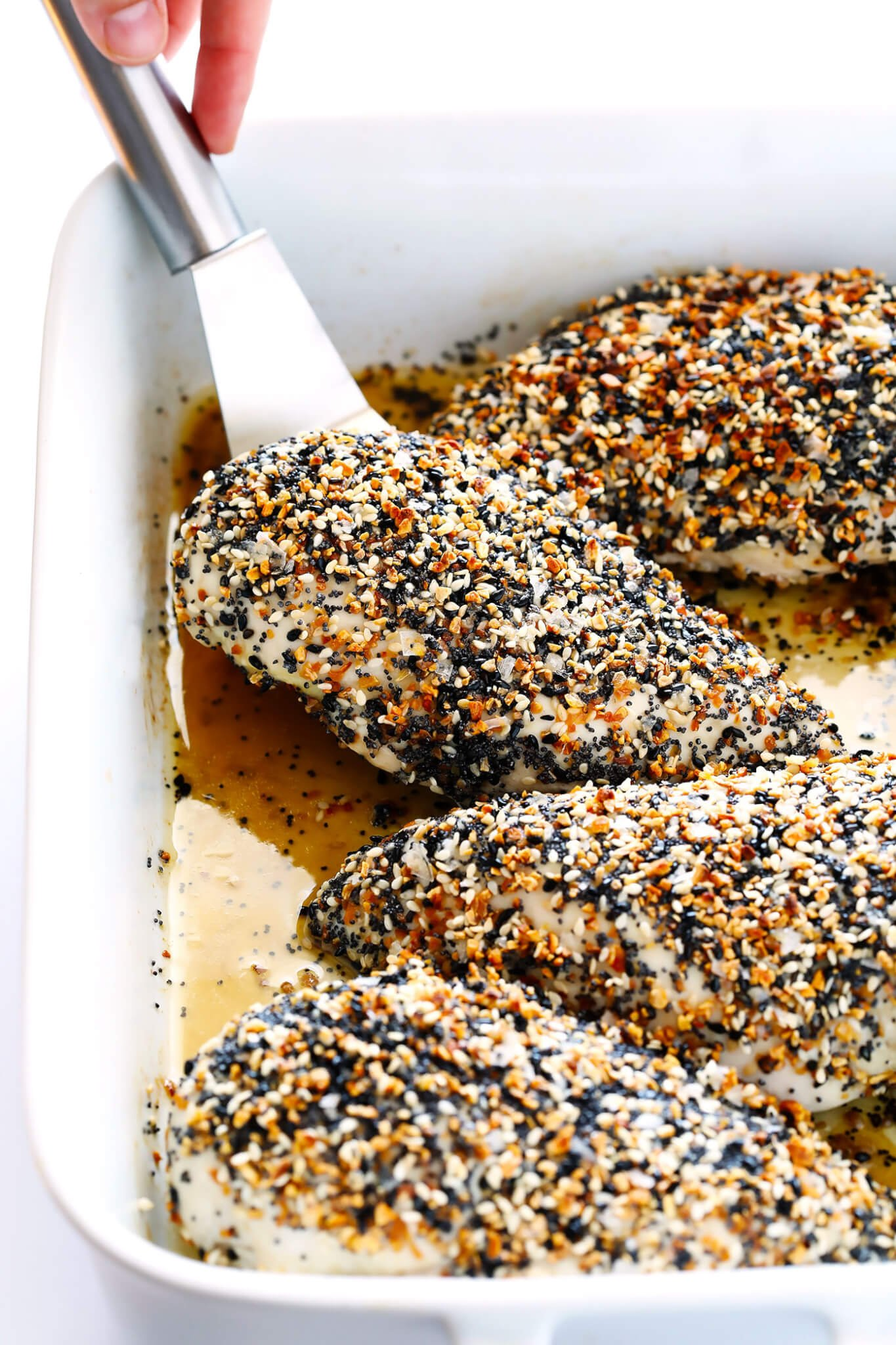 "This ""Everything"" Chicken recipe is made with yummy everything bagel seasoning, and baked in the oven to juicy, tender, delicious perfection. It's an easy and gluten-free dinner idea that everyone will love, especially with those garlic, poppyseed, sesame flavors! 