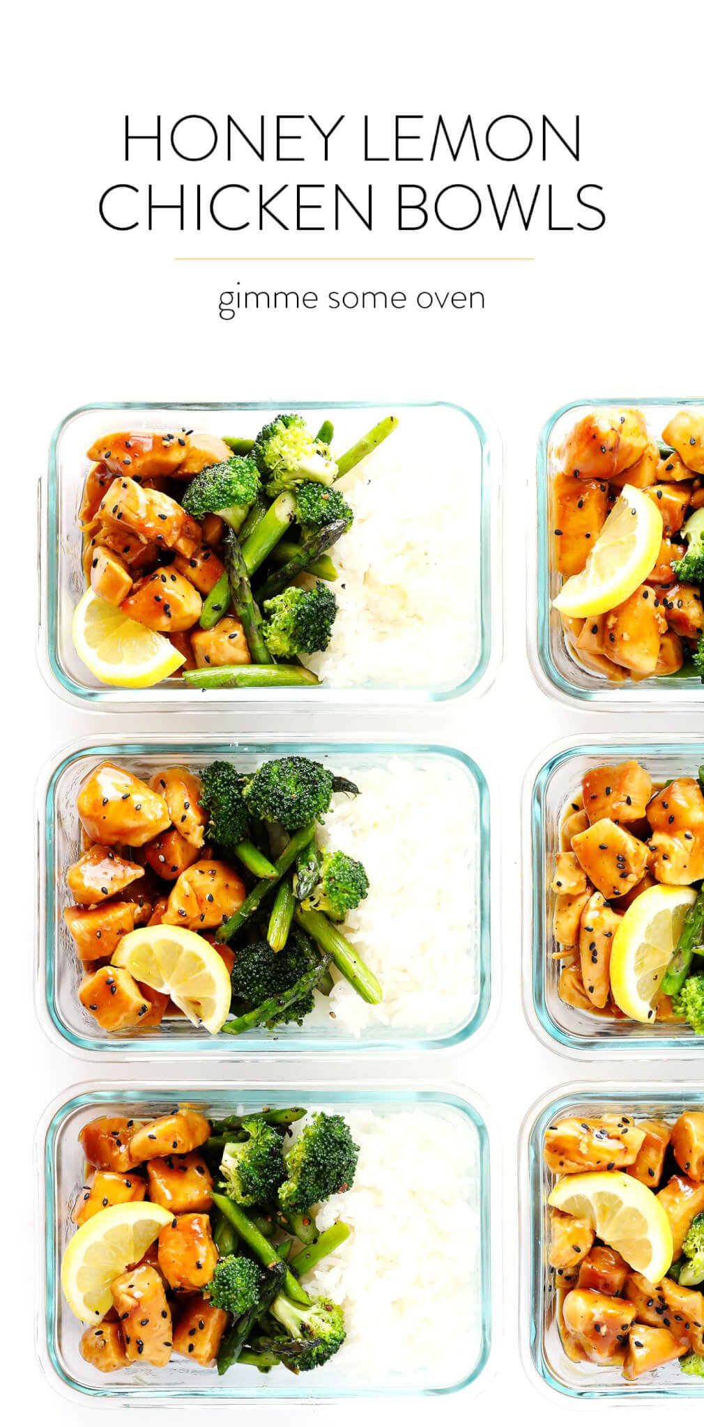 These Honey Lemon Chicken Bowls are one of my favorite healthy lunch or dinner meal prep ideas. They're quick and easy to prepare, made with an Asian honey lemon garlic sesame sauce, fresh asparagus and broccoli (or any vegetables), rice or quinoa. And they are delicious and naturally gluten-free! | gimmesomeoven.com