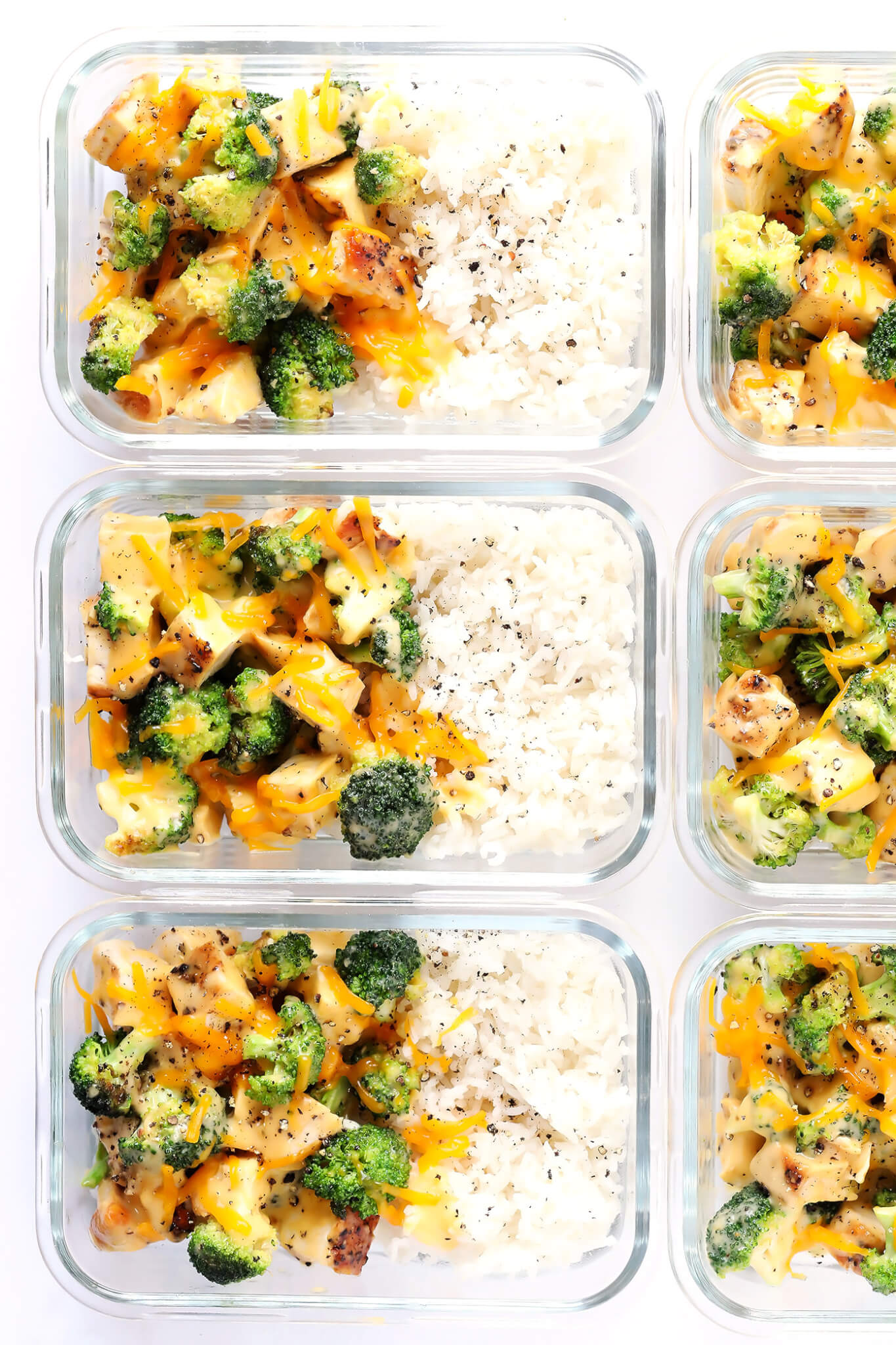 Cheesy Broccoli, Chicken and Rice Bowls (Meal Prep) | Gimme Some Oven