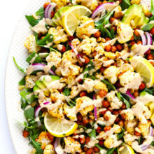 Roasted Cauliflower, Chickpea and Arugula Salad with Tahini Dressing