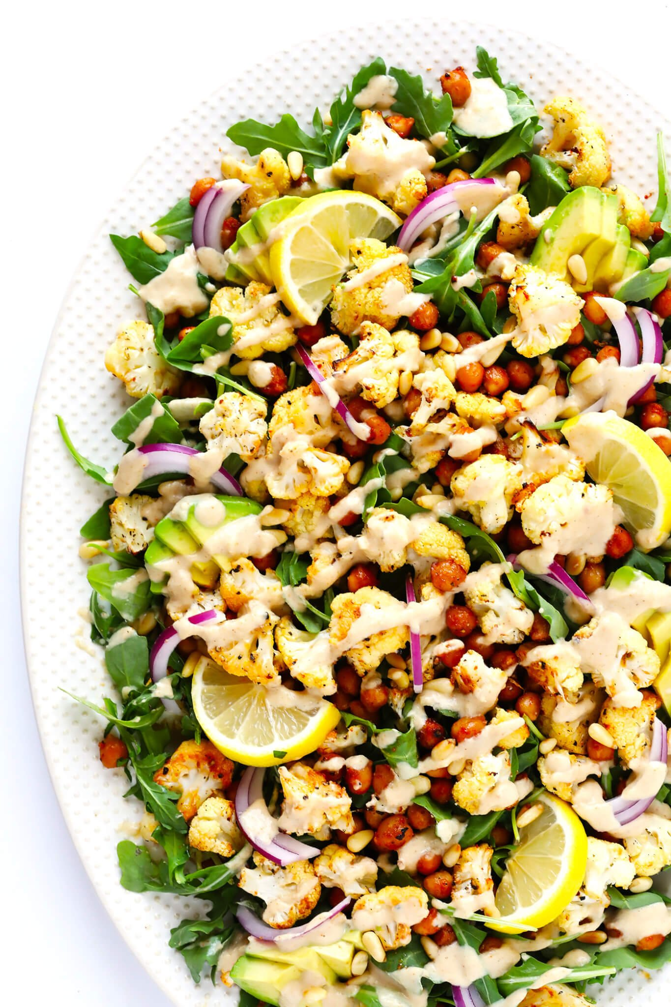 Roasted Cauliflower, Chickpea and Arugula Salad Recipe with Tahini Dressing