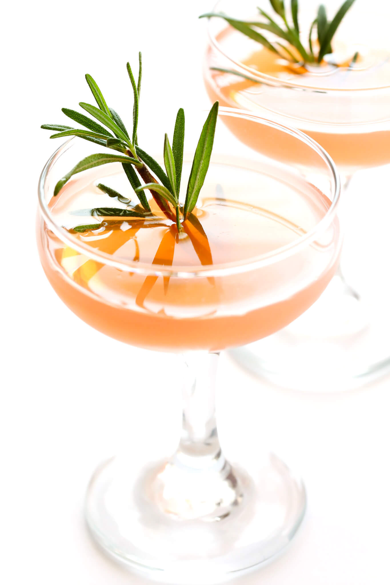 "These refreshing 30-second cocktails are quick and easy to make, they're made with gin (or vodka), St. Germain (elderflower liqueur) and grapefruit juice, and garnished with a sprig of fresh rosemary. They are classically known as the ""Frenchie"" or ""Frenchy"" cocktail -- so delicious!"