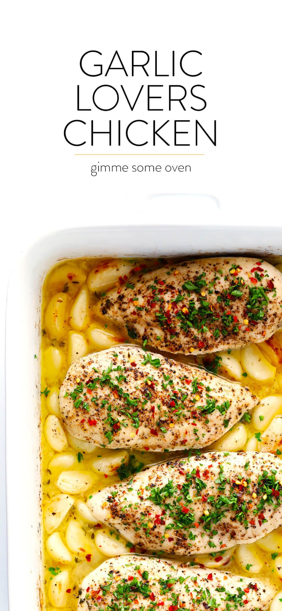 This Garlic Lovers Baked Chicken recipe is quick and easy to prepare, it's baked in the oven with a delicious lemon-butter sauce, and it's made with 40 cloves of garlic that are roasted to perfection. It's also naturally gluten-free, and SO delicious. An awesome weeknight dinner idea!
