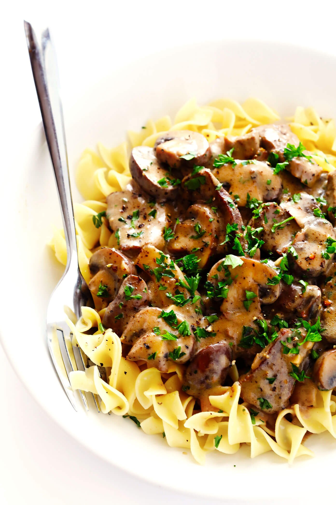 Beef Stroganoff in Bowl with Egg Noodles