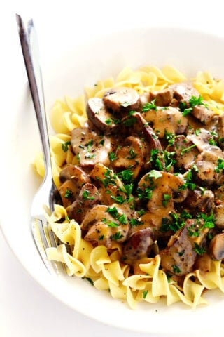 Bowl of Beef Stroganoff with Egg Noodles