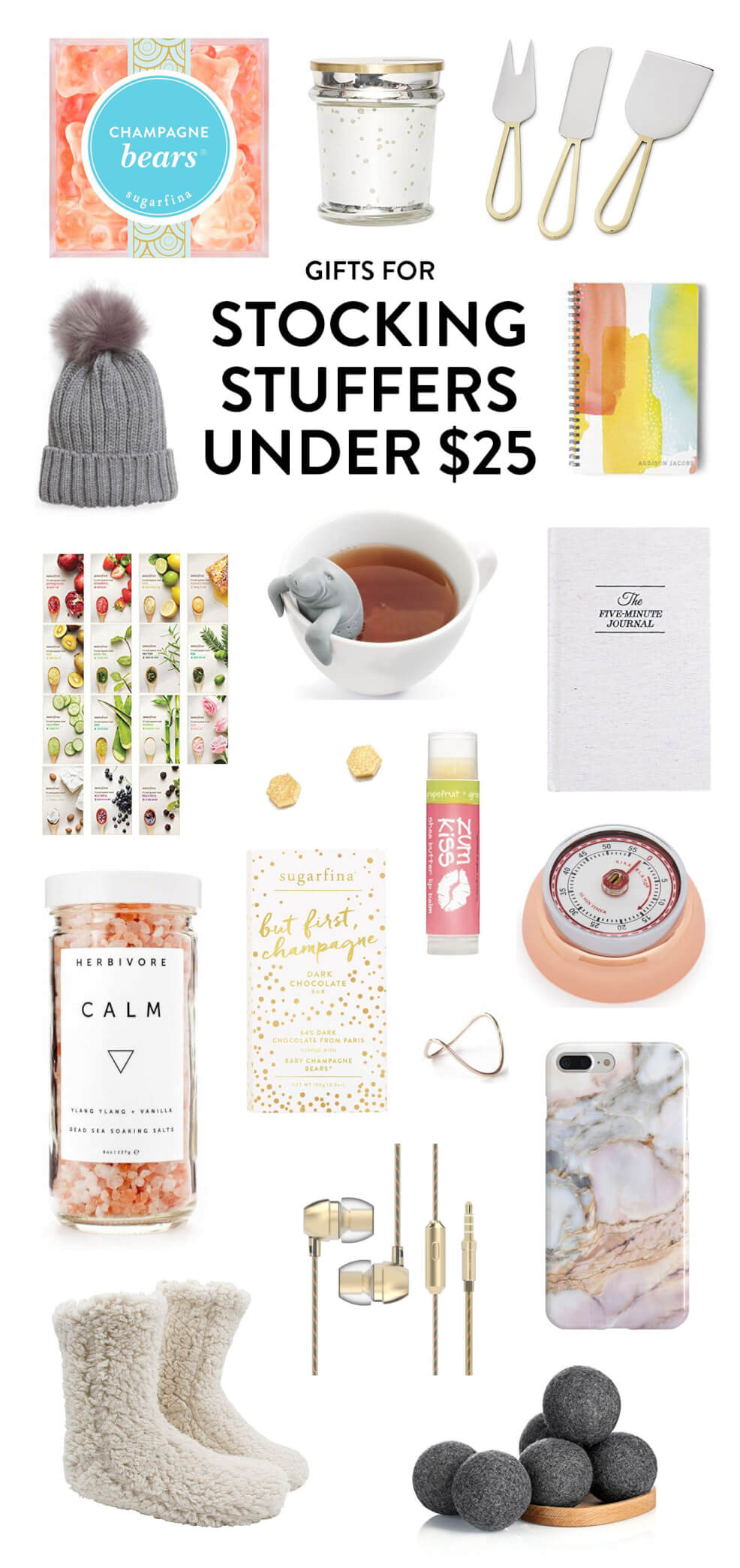 My favorite holiday gift ideas under $25, perfect for stocking stuffing! Ideas include champagne bears, a pretty candle, cheese knives, 5-minute journal, lip gloss, bath salts, fuzzy socks, organic wool dryer balls, earbuds, chocolate, earrings, ring, kitchen time, beauty face masks and a fuzzy stocking cap. | Stocking Stuffers Under $25 Gift Guide | Gimme Some Oven Holidays 2017