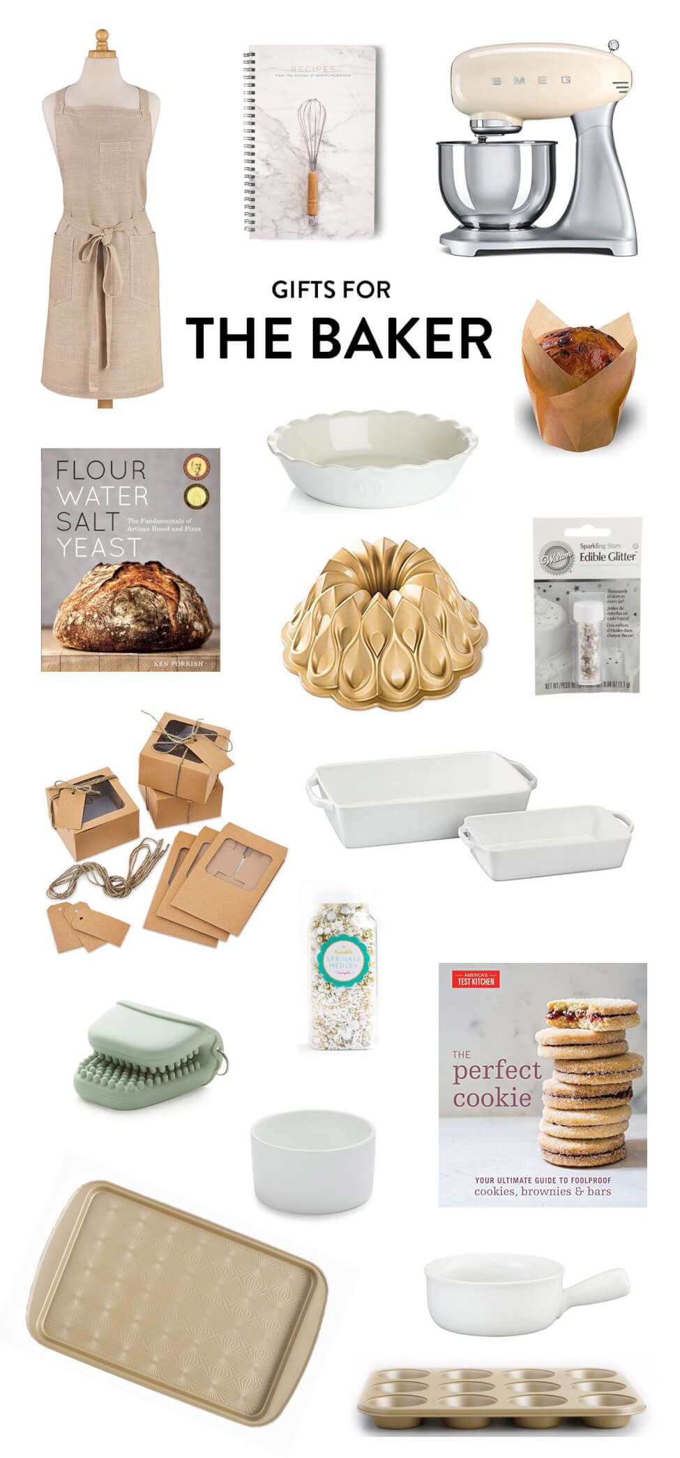 Great gifting ideas for the friend who loves to to bake, including everything from my favorite cookbooks to a linen apron, Smeg stand mixer, recipe journal, pie plate, bundt pan, edible glitter, baking pans, a mini cake and cookie box set, sprinkles and more. | The Cozy Homebody Gift Guide | Gimme Some Oven Holidays 2017