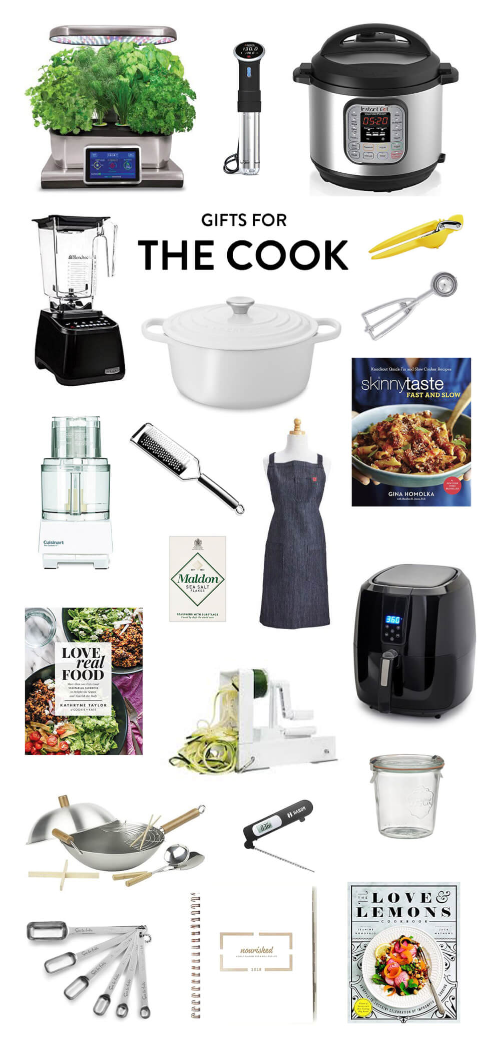 Perfect for the friend who loves to cook up a storm in the kitchen! Holiday gifting ideas include everything from an herb-growing kit, to a sous-vide cooker, to an instant pot pressure cooker, lemon juicer, cookie scoop, Le Creuset dutch oven, cookbooks, apron, air fryer, Weck jars, Nourished planner, measuring spoons, wok kit, food processor, Blendtec blender and more. | The Cook Gift Guide | Gimme Some Oven Holidays 2017
