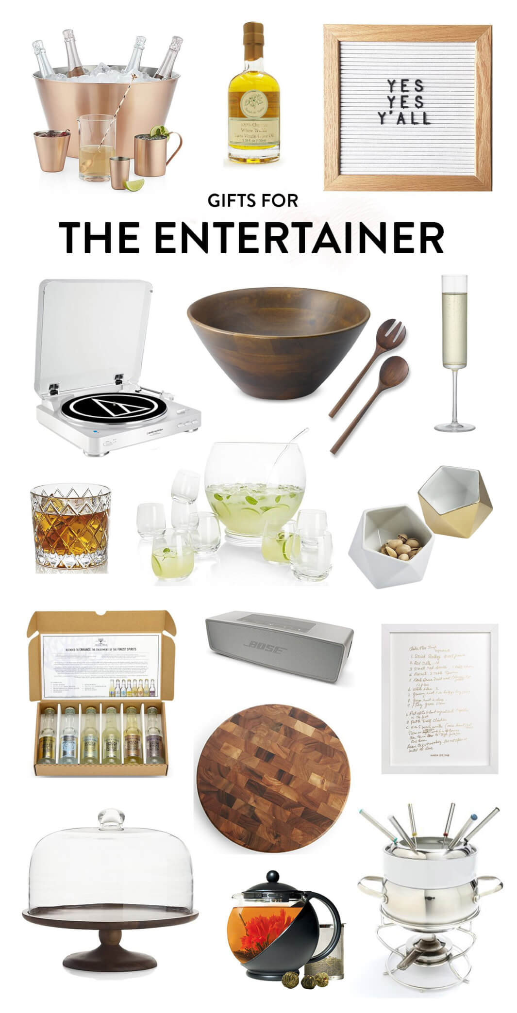 Perfect for the friend who loves to have people over! Holiday gifting ideas include everything from a letterboard to champagne flutes to a salad bowl and tons, serving bowls, punch bowl set, Bose bluetooth speaker, cutting board, fondue set, tea pot, wooden pedestal, tonic set, record player and champagne chilling bowl. | The Entertainer Gift Guide | Gimme Some Oven Holidays 2017