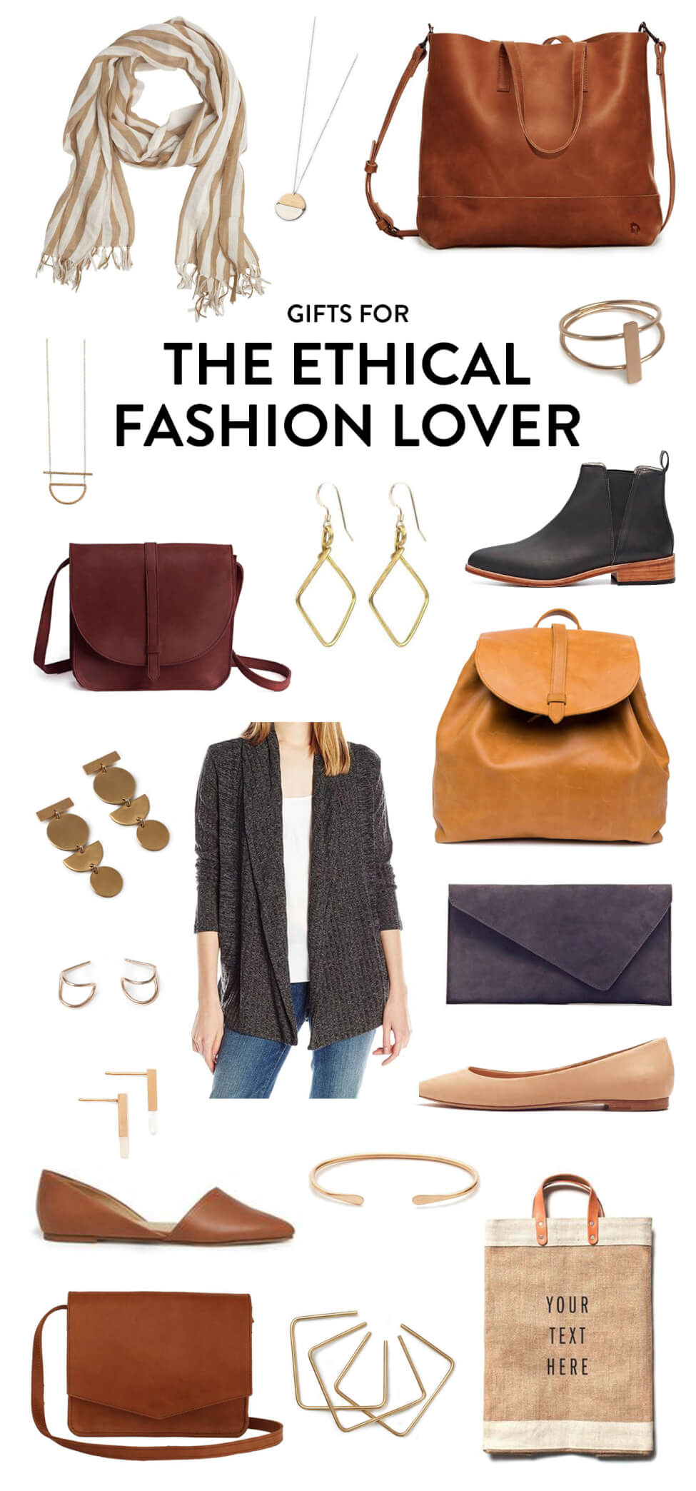 Great gifting ideas for the friend who loves sustainable fashion that gives back, including a beautiful scarf, tote bag, clutch, handbag, crossbody bag, flats, boots, cardigan, earrings, bracelets, necklaces, and a reusable shopping bag. | The Ethical Fashion Lover Gift Guide | Gimme Some Oven Holidays 2017