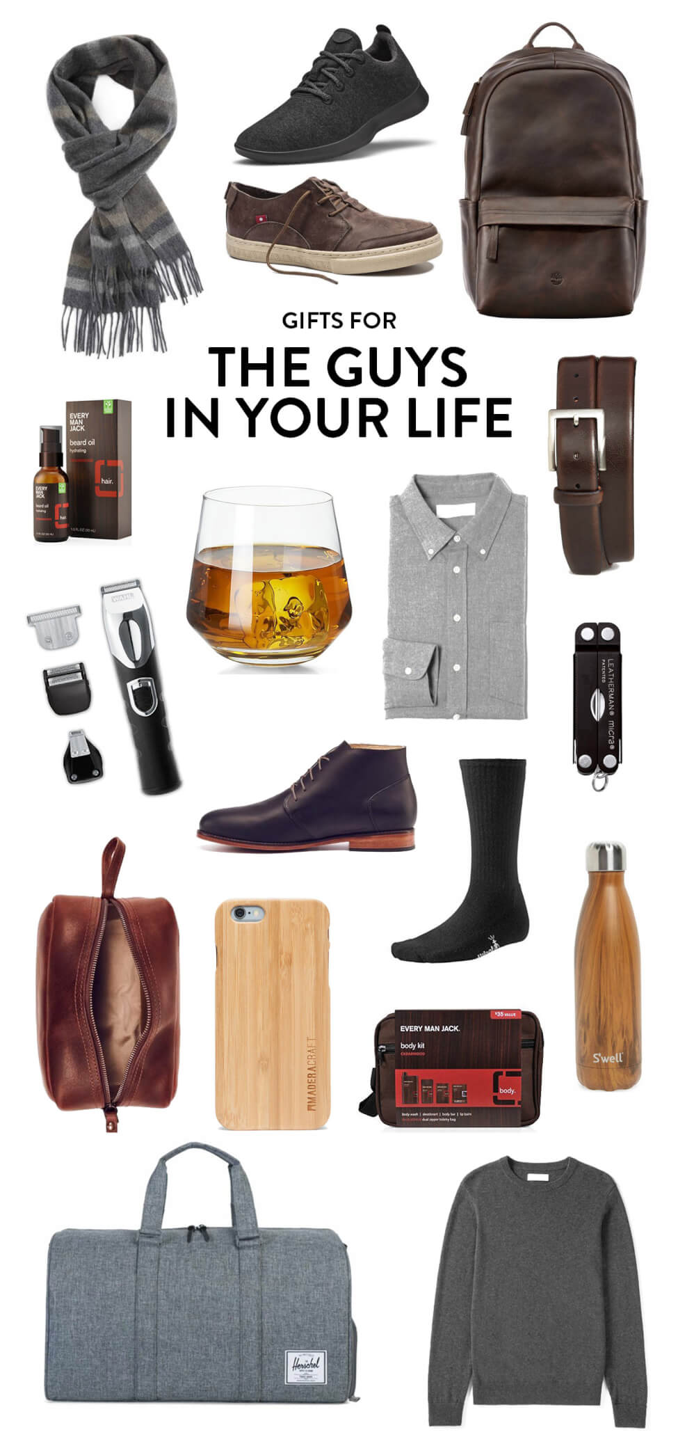 Holiday gifting ideas for the handsome men in your life, including everything from a cashmere scarf, to Allbirds, to Oliberte sneakers, to a leather backpack, belt, flannel shirt, sweater, water bottle, shaving kit, wooden iphone case, duffel bag, dop kit, shaver, and beard oil. | The Guys In Your Life Gift Guide | Gimme Some Oven Holidays 2017