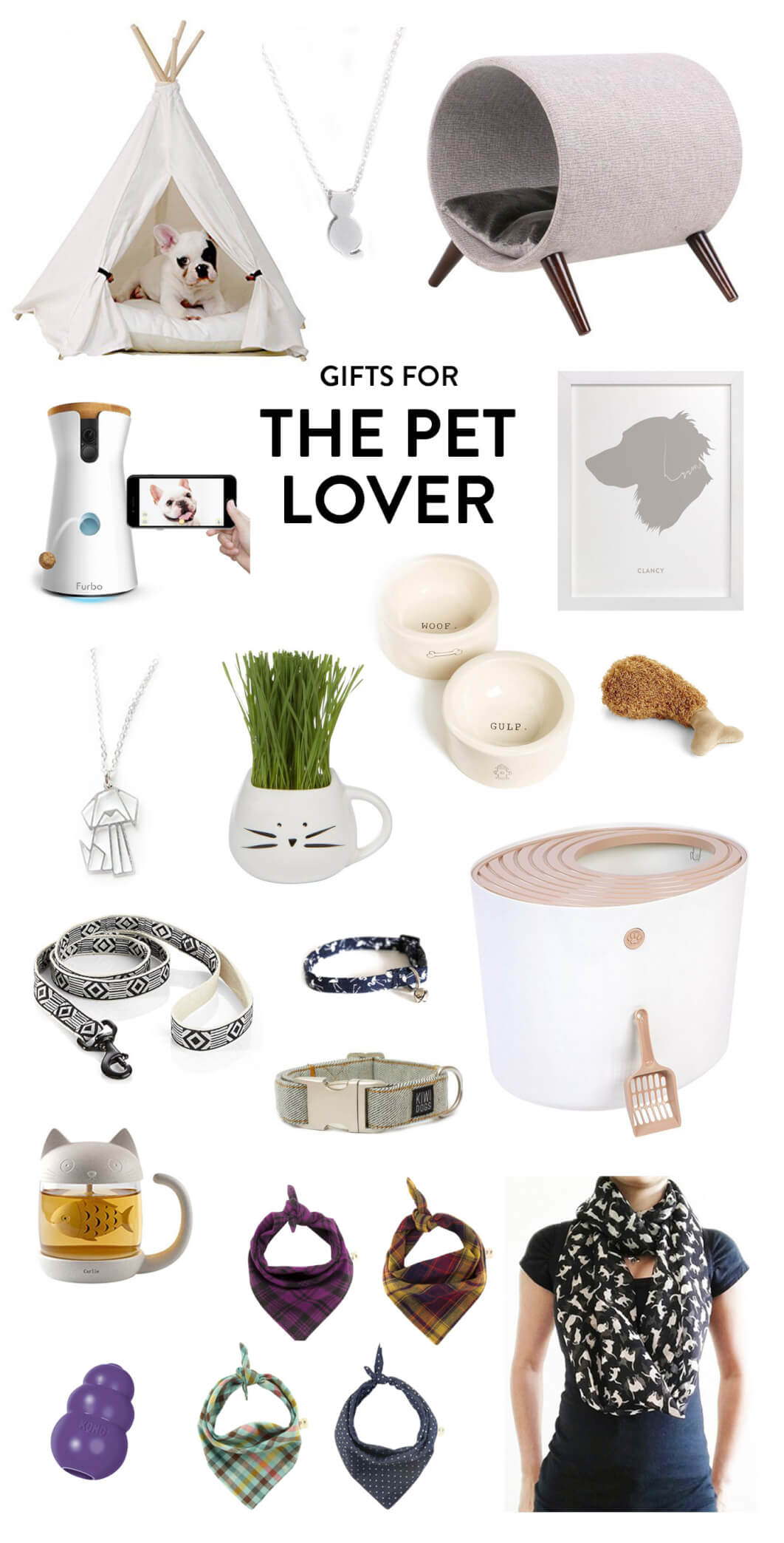 Perfect for the cat and dog lovers in your life! Holiday gifting ideas include everything from a pet teepee to a cat necklace, cat bed, customizable art, dog bowls and toys, litter box, scarf, bandanas, tea mug, leash, and treat dispenser. | The Pet Lover Gift Guide | Gimme Some Oven Holidays 2017