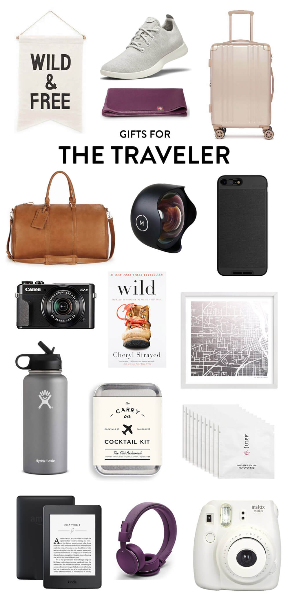 "Perfect for the friend who absolutely loves to travel and adventure! Holiday gifting ideas include everything from a Wild & Free banner, to Allbirds, to a foldable yoga mat, to a cute carry-on, to a Moment wide angle lens and phone case, to customizable map art, to ""Wild"", to an Instax camera, to headphones, to a Kindle, to a weekender bag to my favorite Canon Powershot travel camera. 