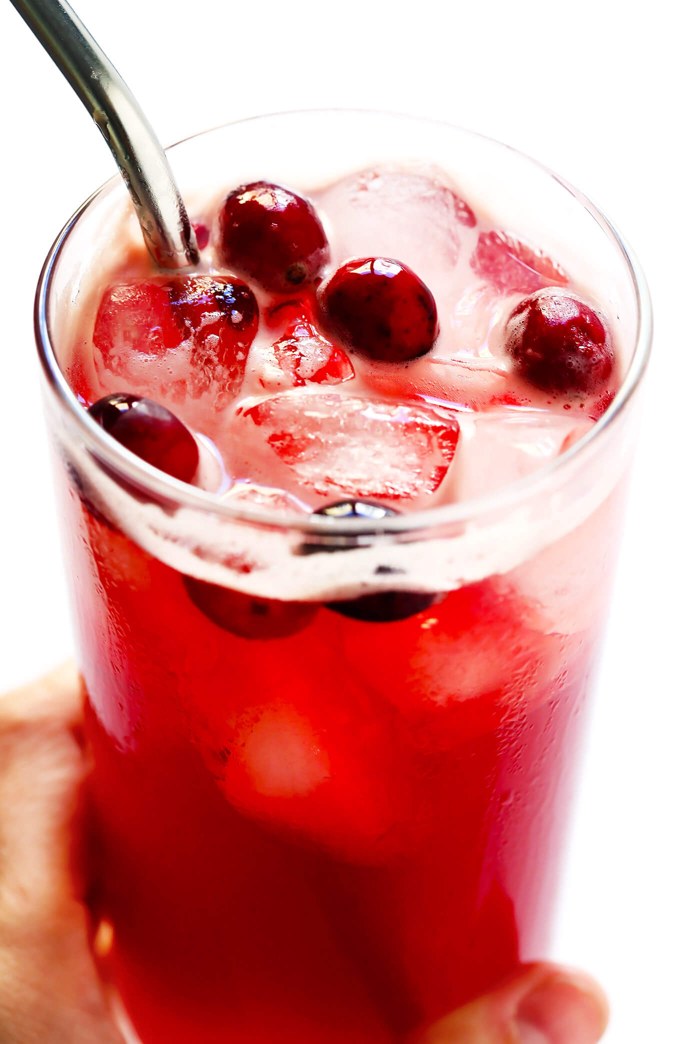 3-Ingredient Cranberry Bourbon Fizz