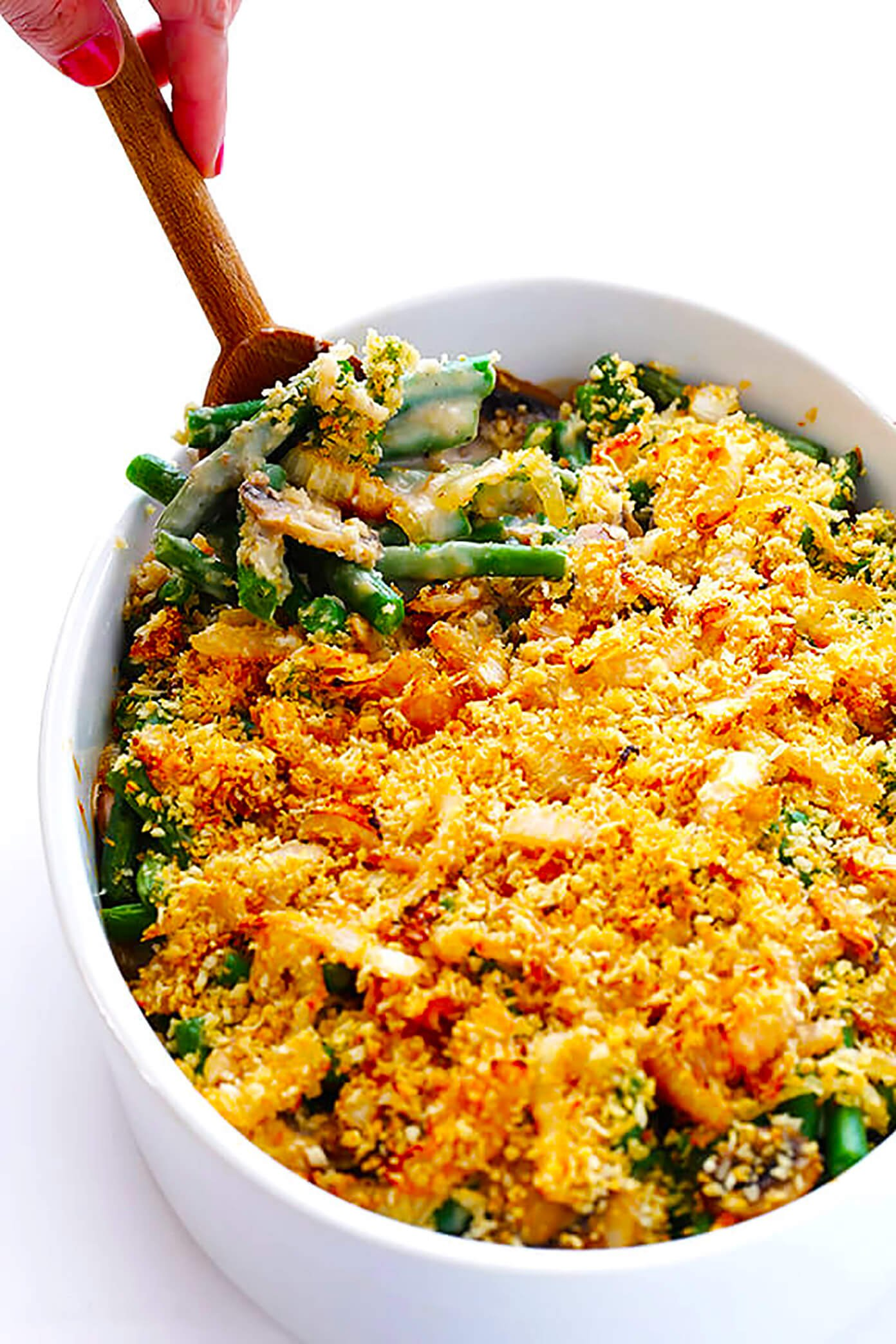 This Healthier Green Bean Casserole recipe is made with creamy fresh green beans, and topped with a crunchy panko topping. So delicious, and perfect for Thanksgiving!