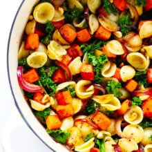 Pasta with Caramelized Sweet Potatoes, Kale and Parmesan (Vegetarian)