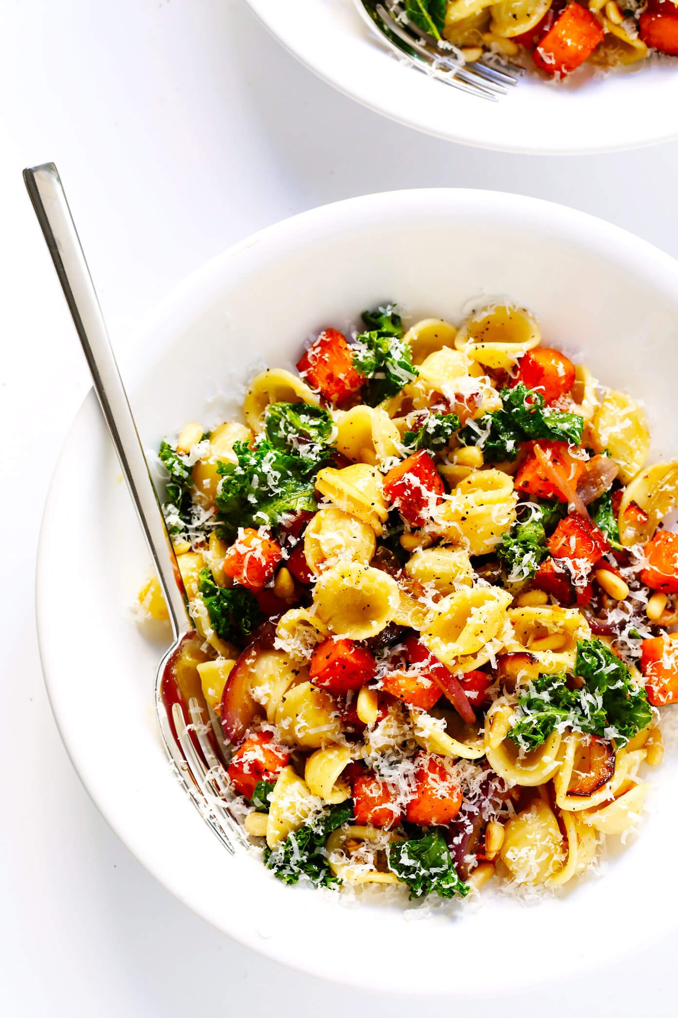 Pasta with Caramelized Sweet Potatoes, Kale and Parmesan