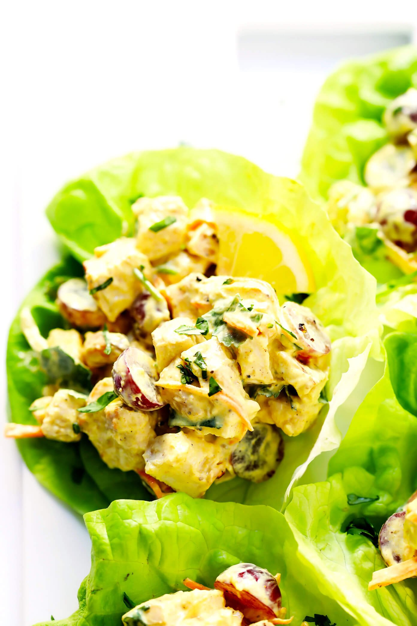LOVE this Healthy Curried Chicken Salad recipe!  It's fast and easy to make, made with a delicious Curried Greek Yogurt sauce, naturally gluten-free, and crazy good. Perfect for meal planning, and tastes delicious in a sandwich, wrap, lettuce cups...you name it! | Gimme Some Oven #chickensalad #glutenfree #lettucewraps #chickencurry