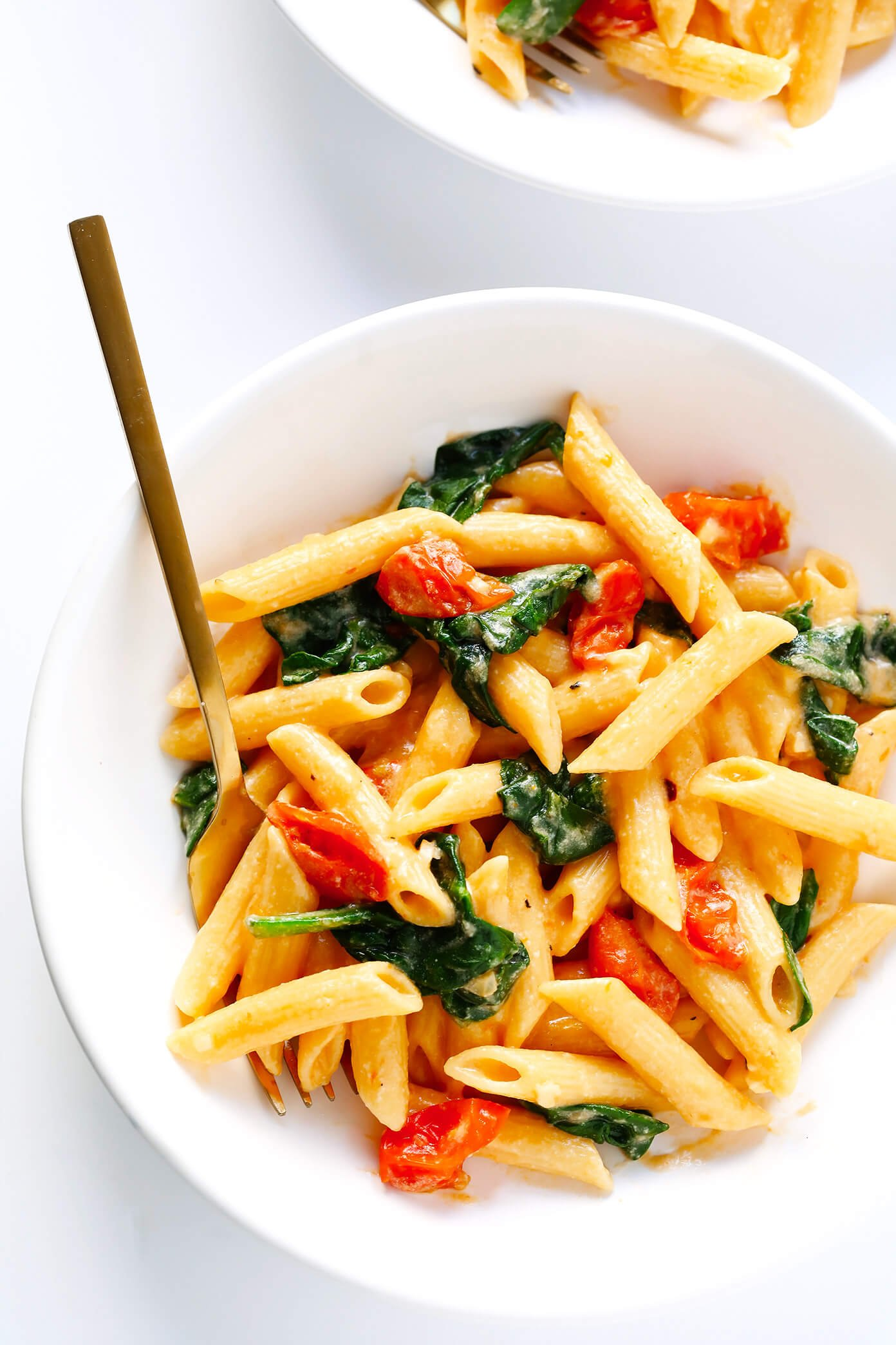 Creamy Rosé Pasta with Roasted Tomatoes and Spinach