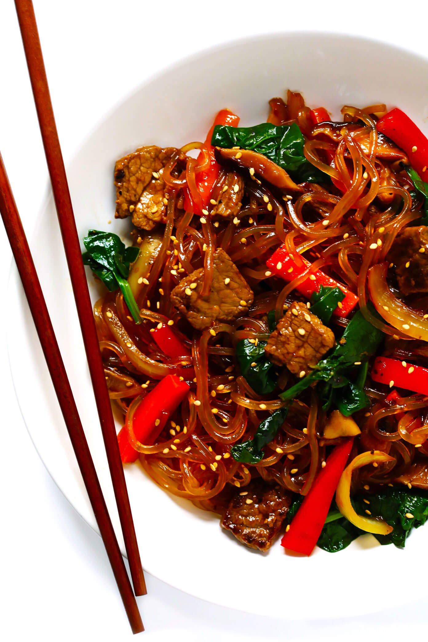 Japchae Korean Noodle Stir Fry