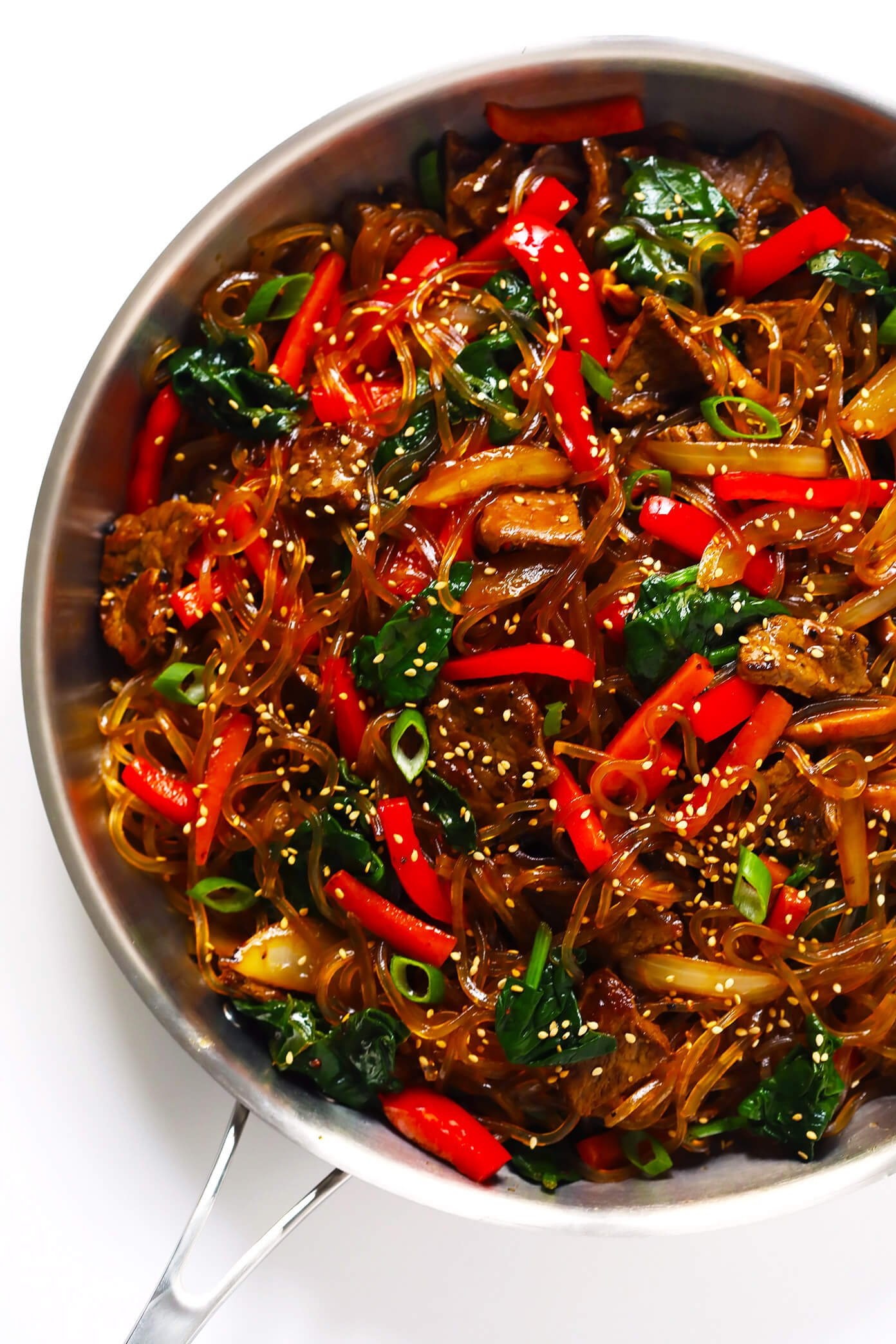 Japchae Korean Noodle Stir-Fry in sauté pan