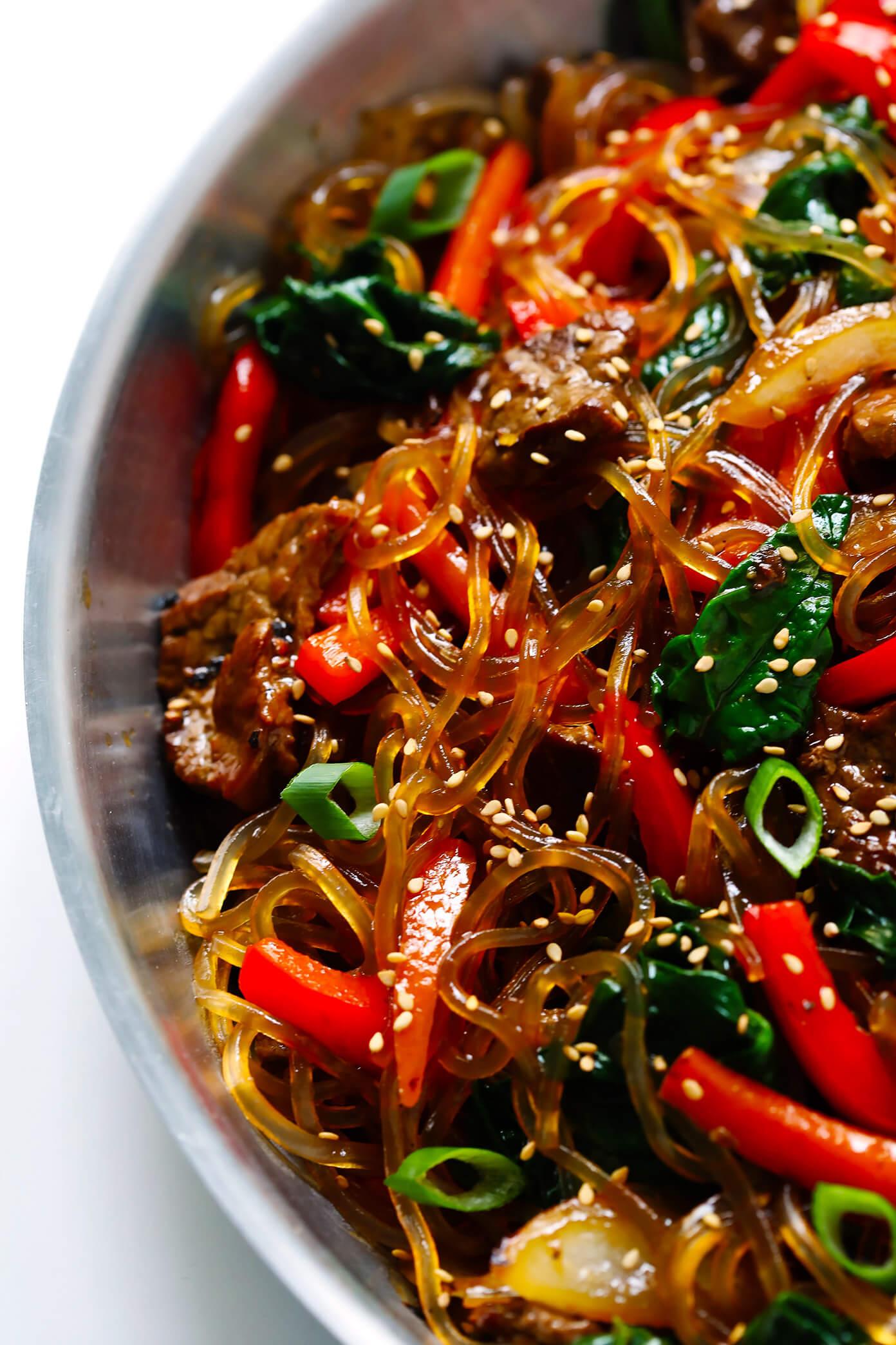 Japchae Korean noodle stir-fry closeup