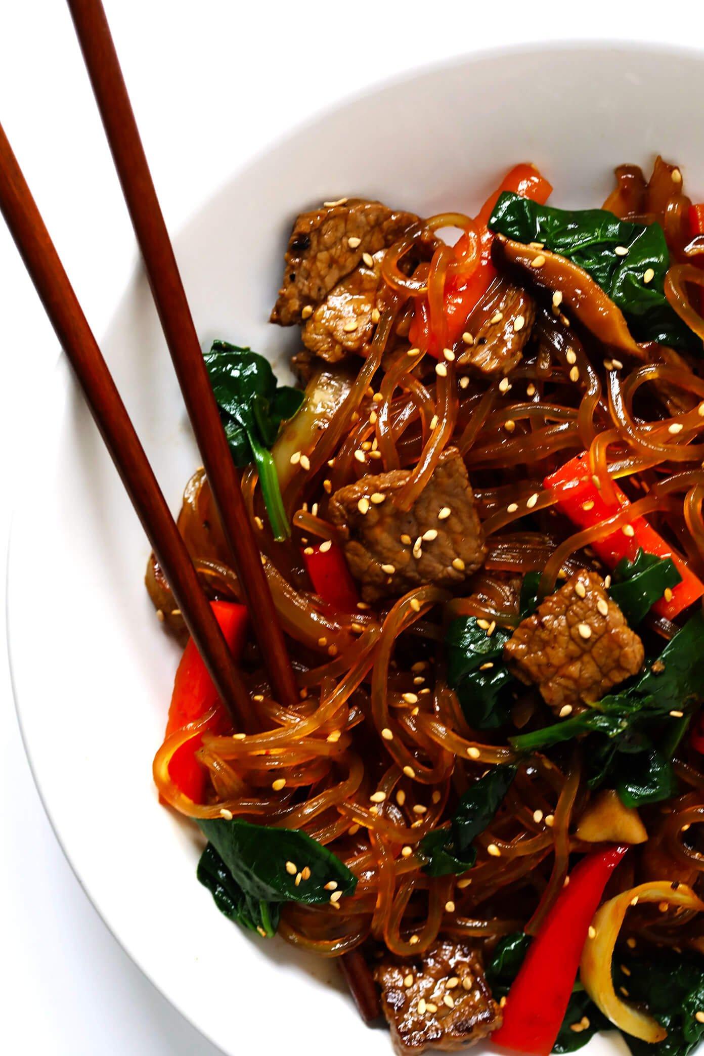 Japchae - Korean beef noodle stir-fry in bowl