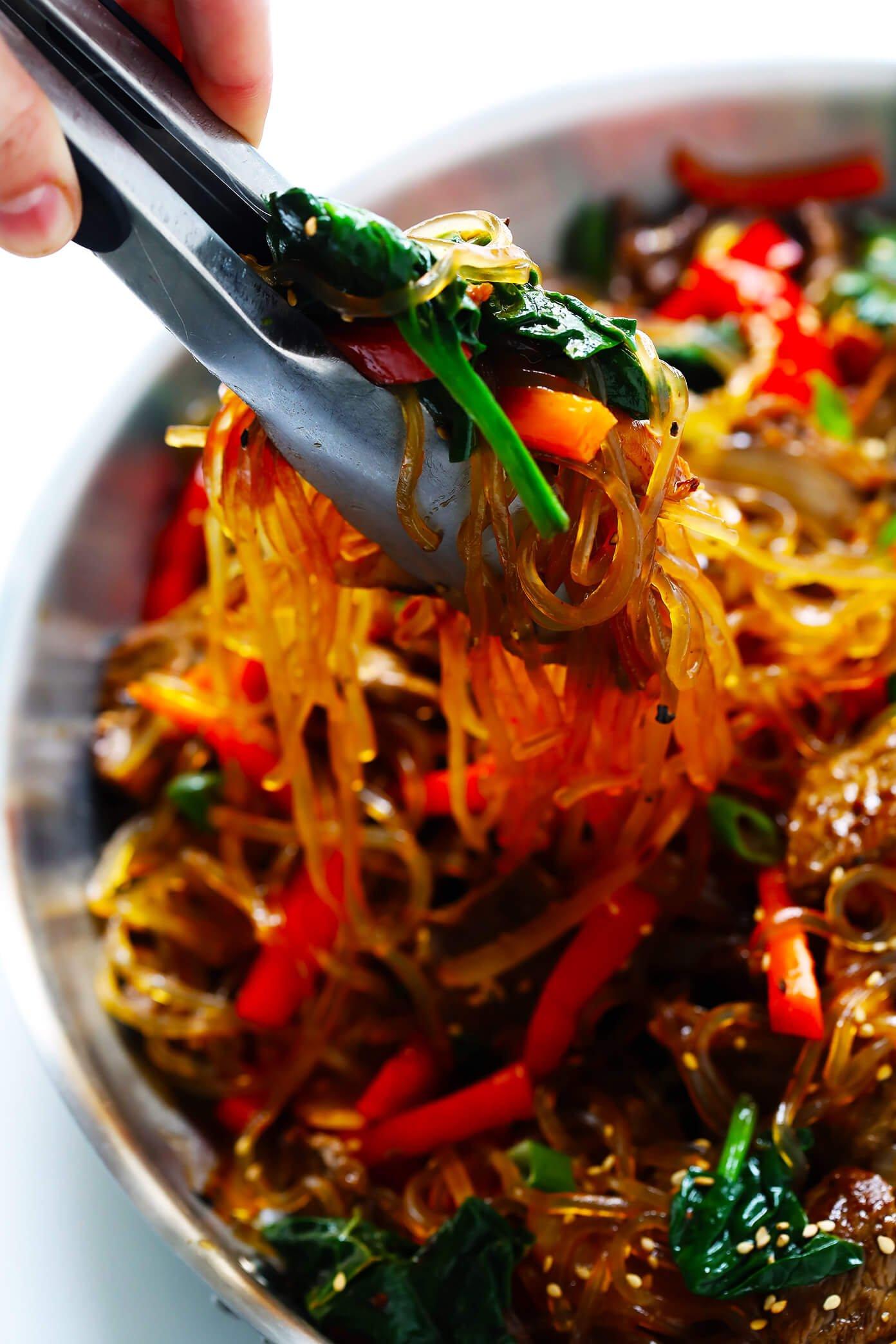 Japchae Korean noodle stir-fry in pan