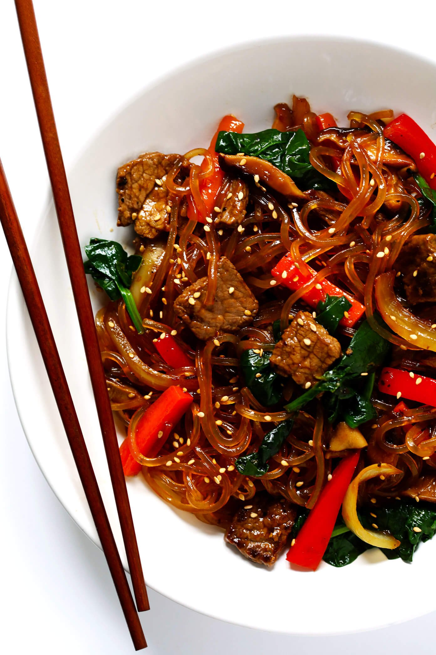 Japchae Korean Noodle Stir Fry with Chopsticks