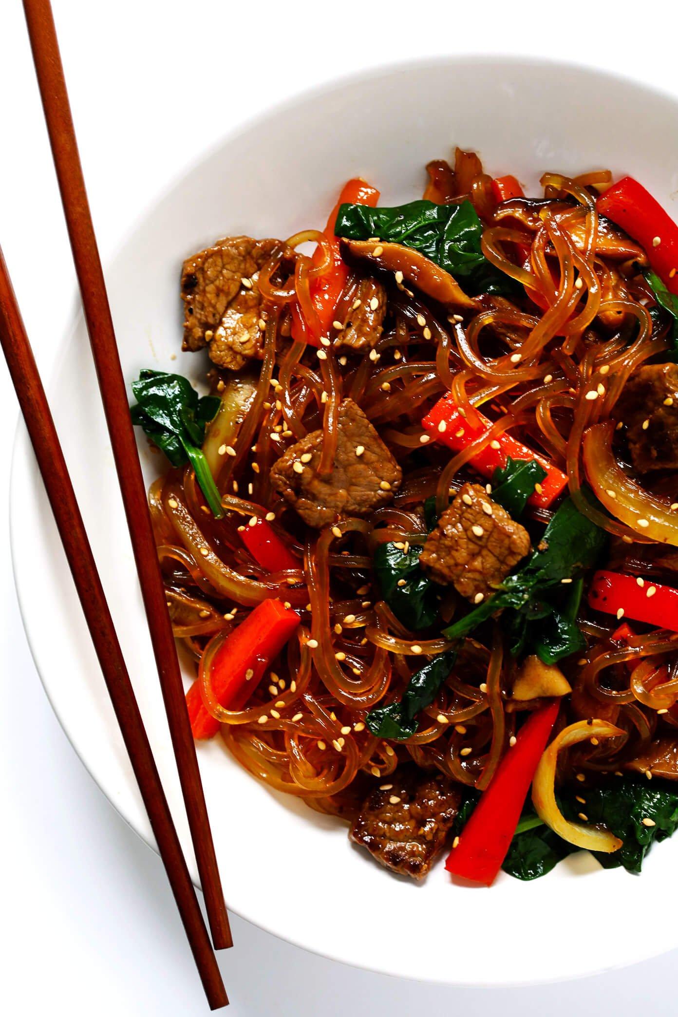Japchae Korean Noodle Stir Fry with Chopsticks