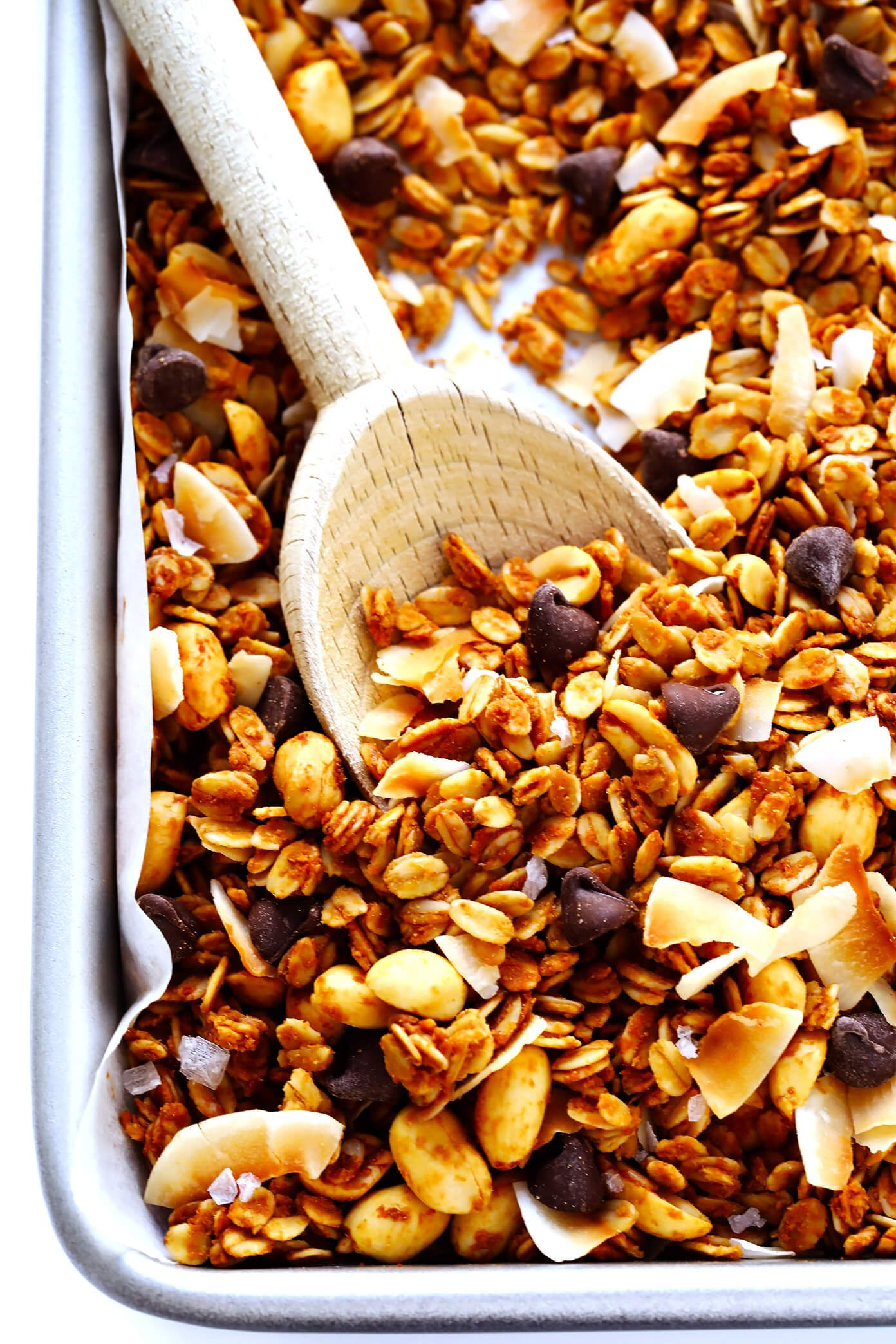 Peanut Butter Granola with Chocolate Chips Closeup