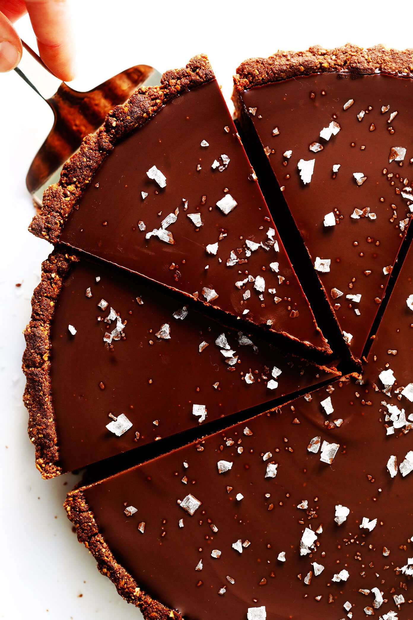 Salted Dark Chocolate Tart in pan