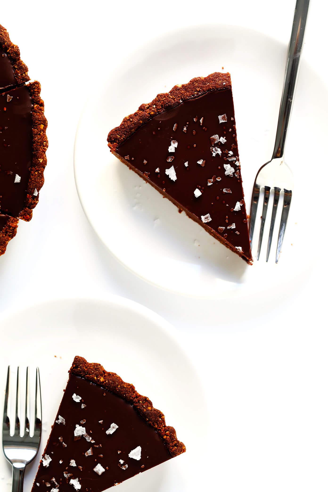 Salted Dark Chocolate Tart Slices