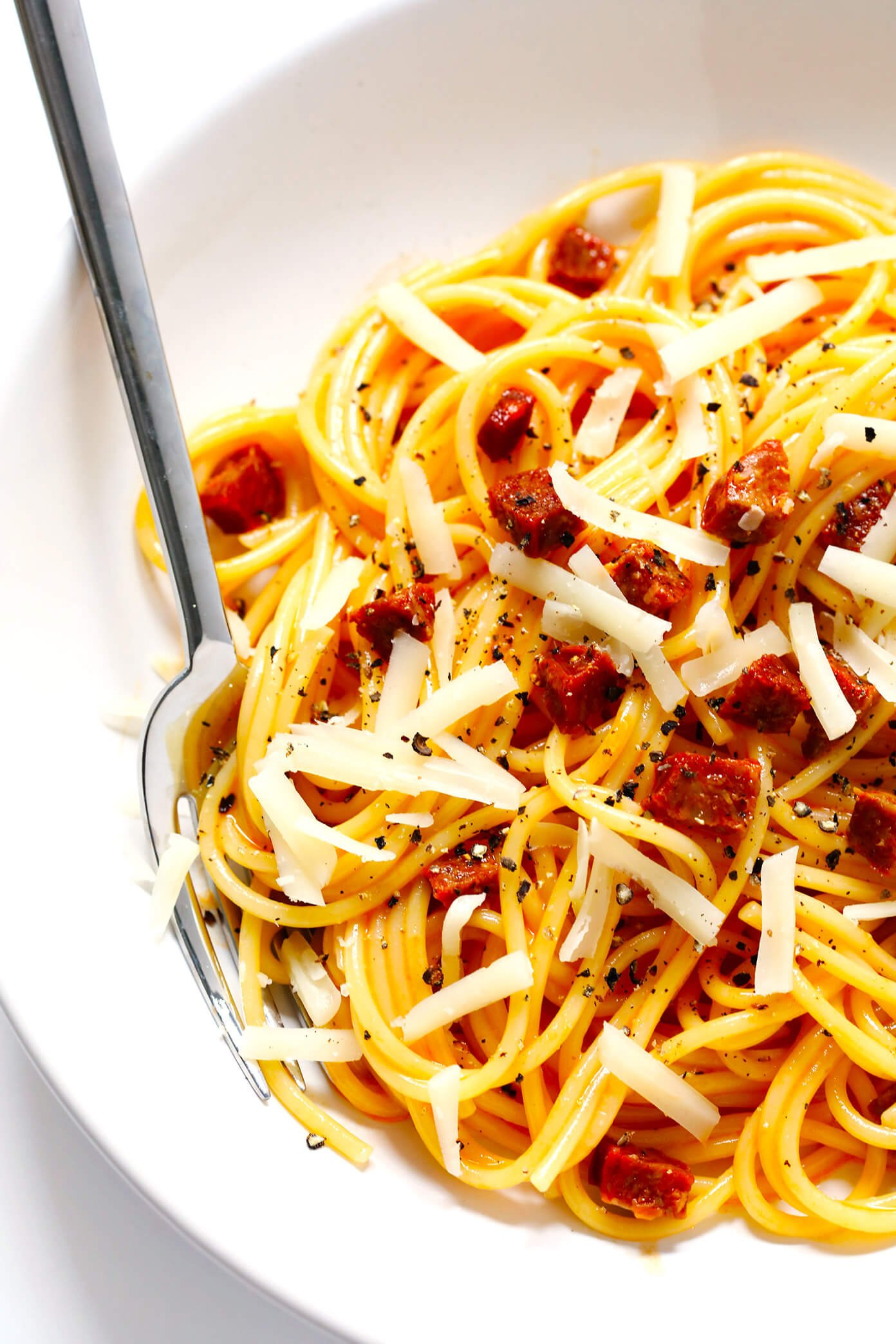 Spaghetti Carbonara with Spanish Chorizo and Manchego Cheese