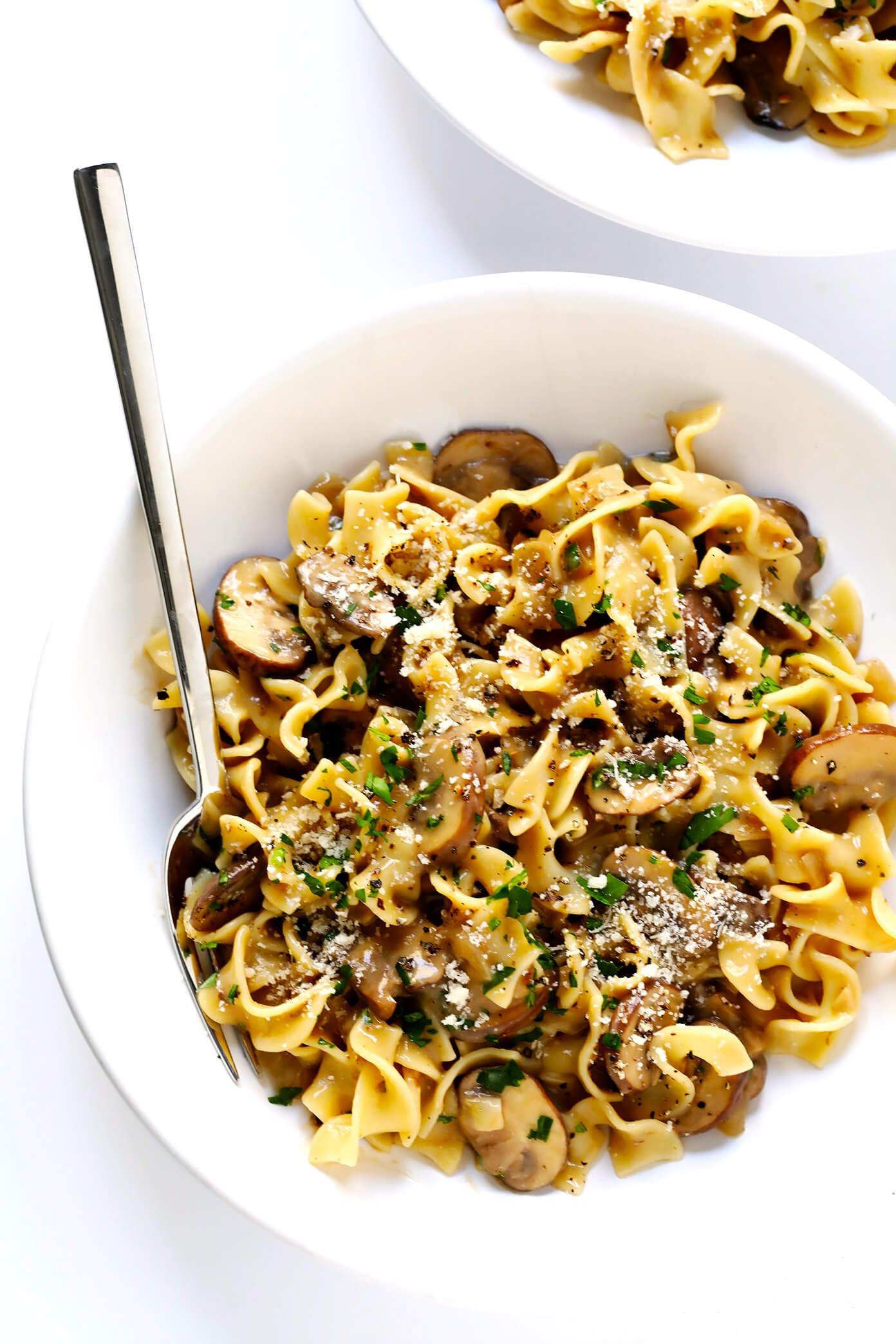 Vegetarian Mushroom Stroganoff in bowls