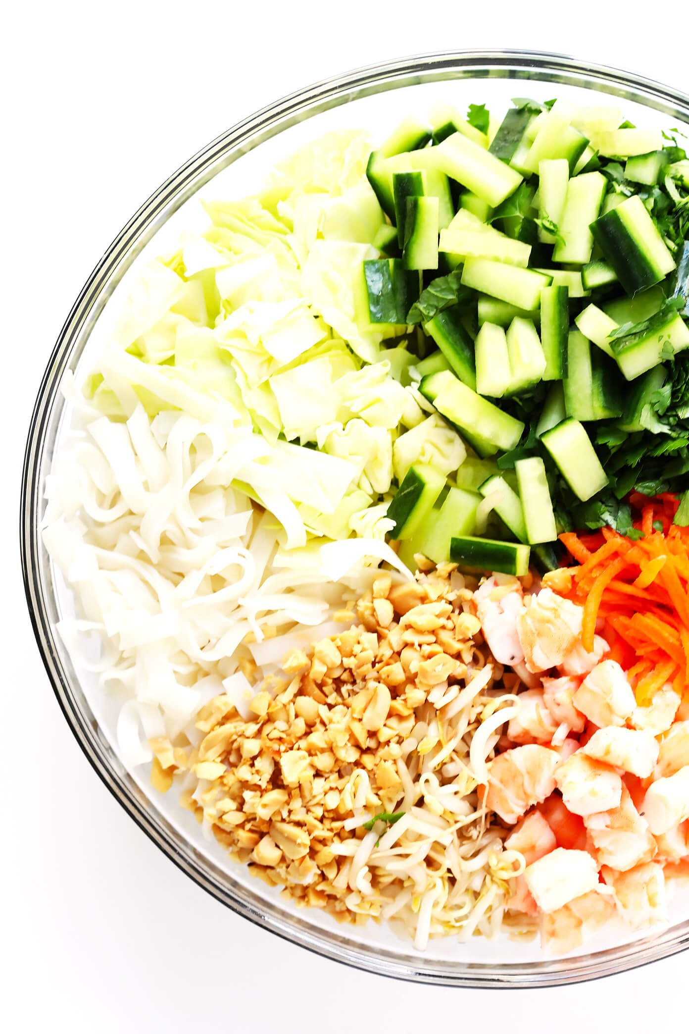 Vietnamese Spring Roll Salad ingredients in bowl