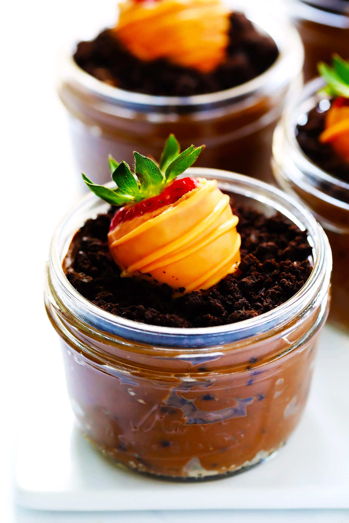 Carrot Patch Dirt Cups with Chocolate-Covered Strawberries