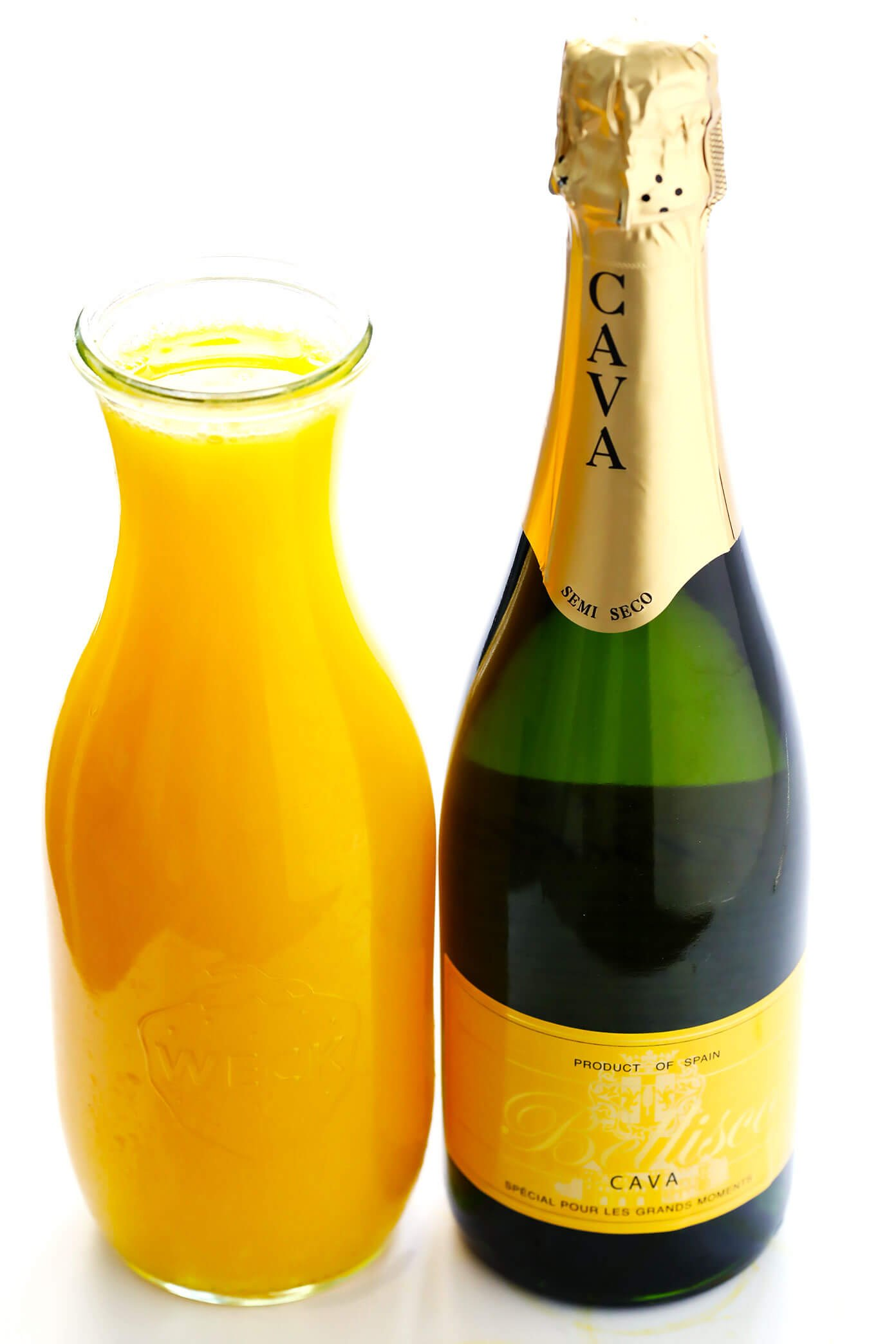 Mimosa Ingredients Orange Juice and Sparkling Wine