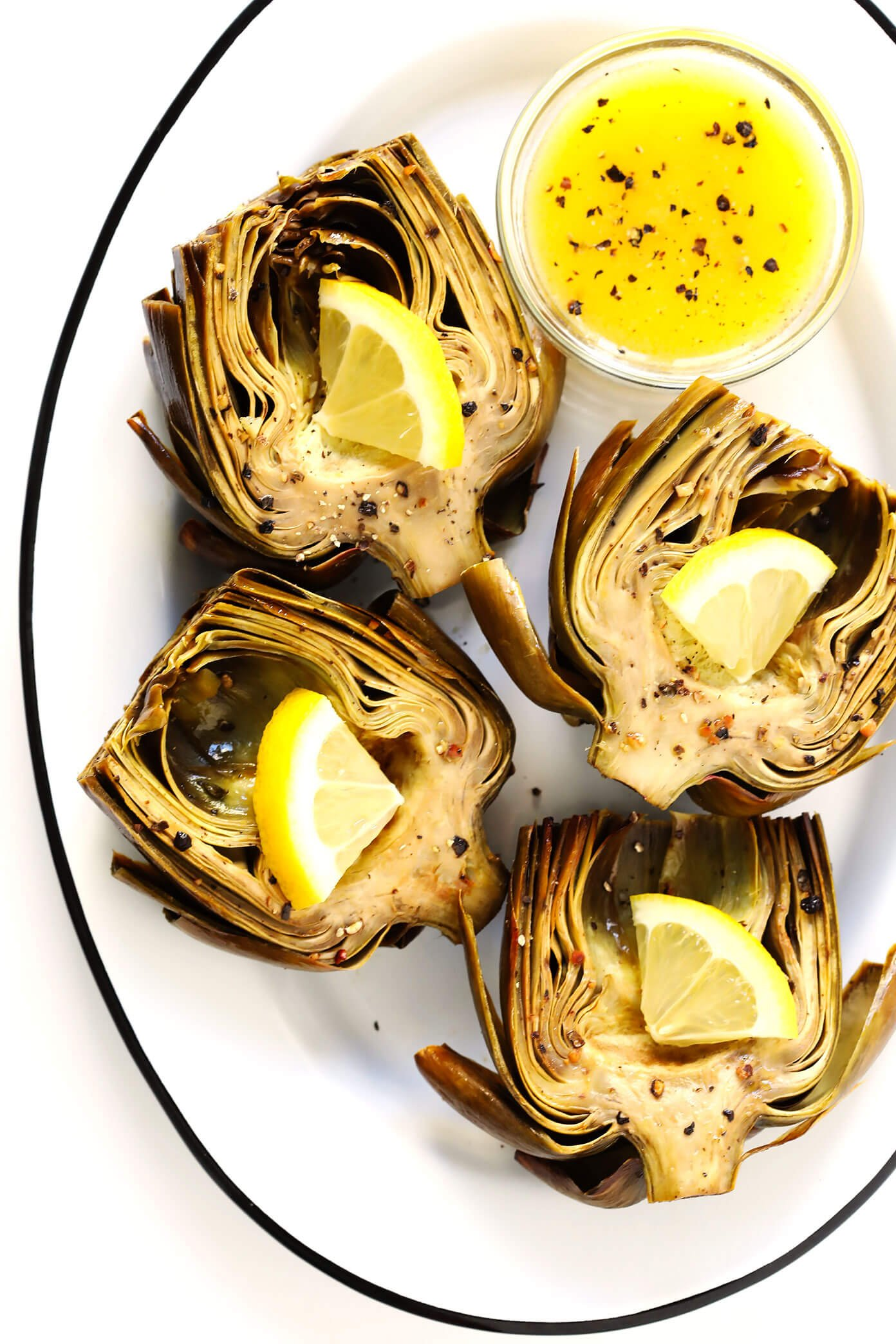 Oven Roasted Artichokes with Lemon Butter Sauce