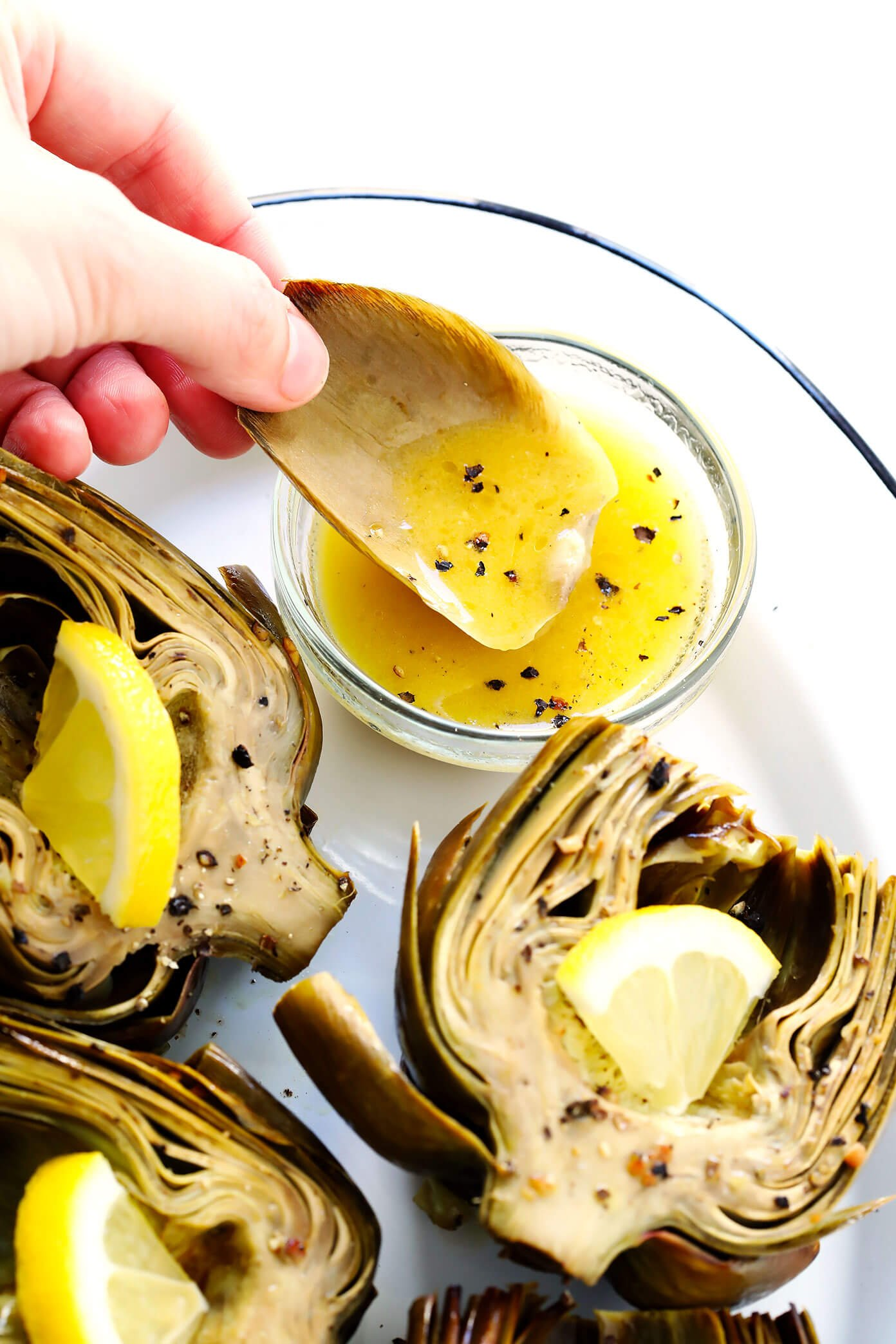 Oven Roasted Artichokes with Lemon Butter Dipping Sauce