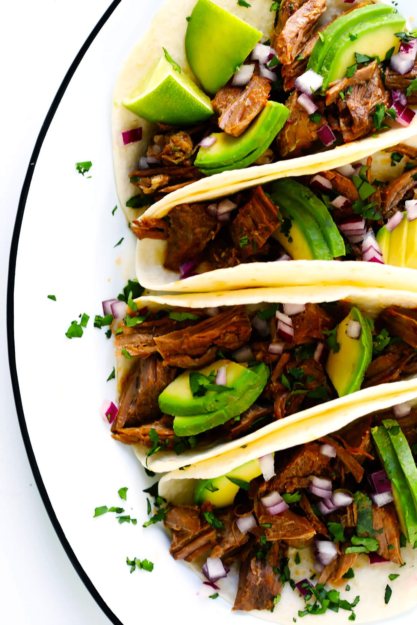 Instant Pot Barbacoa Beef Tacos with Avocado
