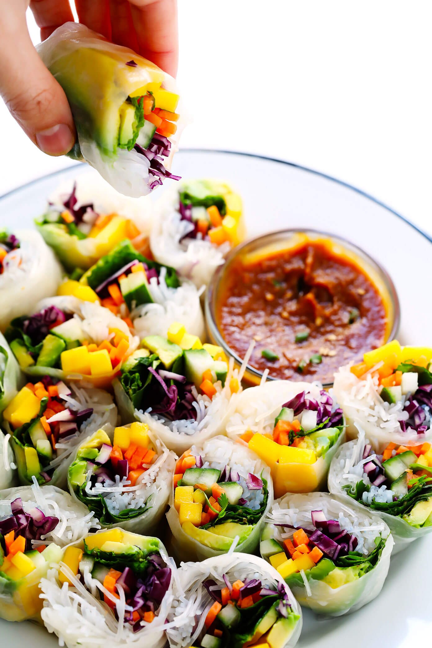 Mango Avocado Spring Rolls With Easy Peanut Sauce