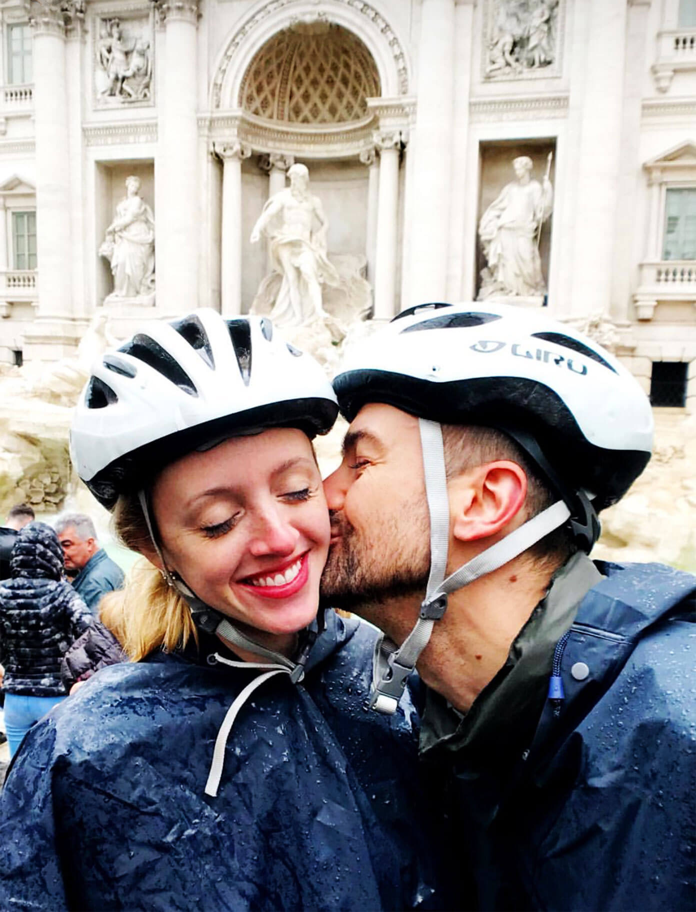 Stopping by Trevi Fountain on our bike tour in Rome